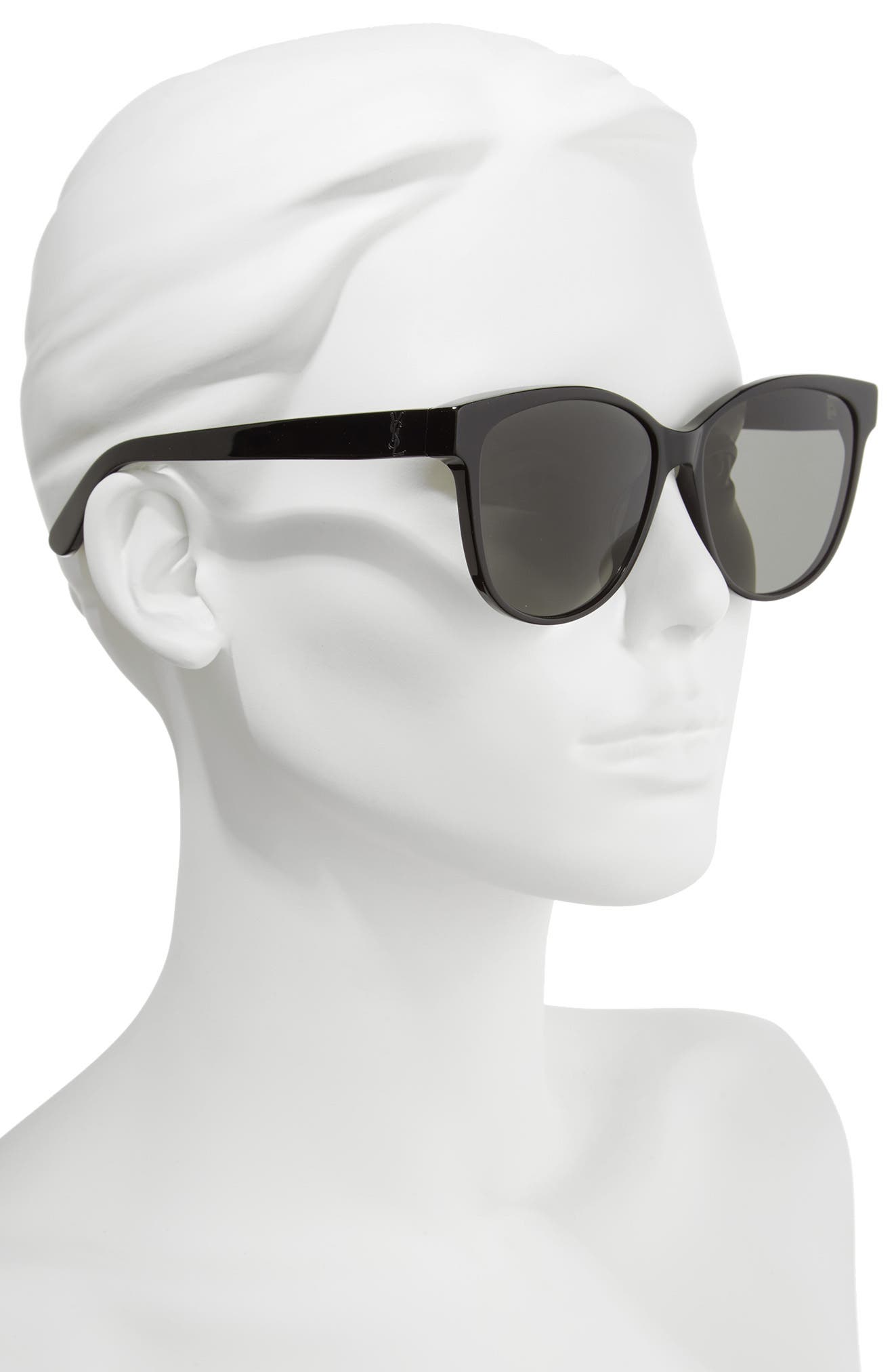 SAINT LAURENT, 58mm Cat Eye Sunglasses, Alternate thumbnail 2, color, BLACK