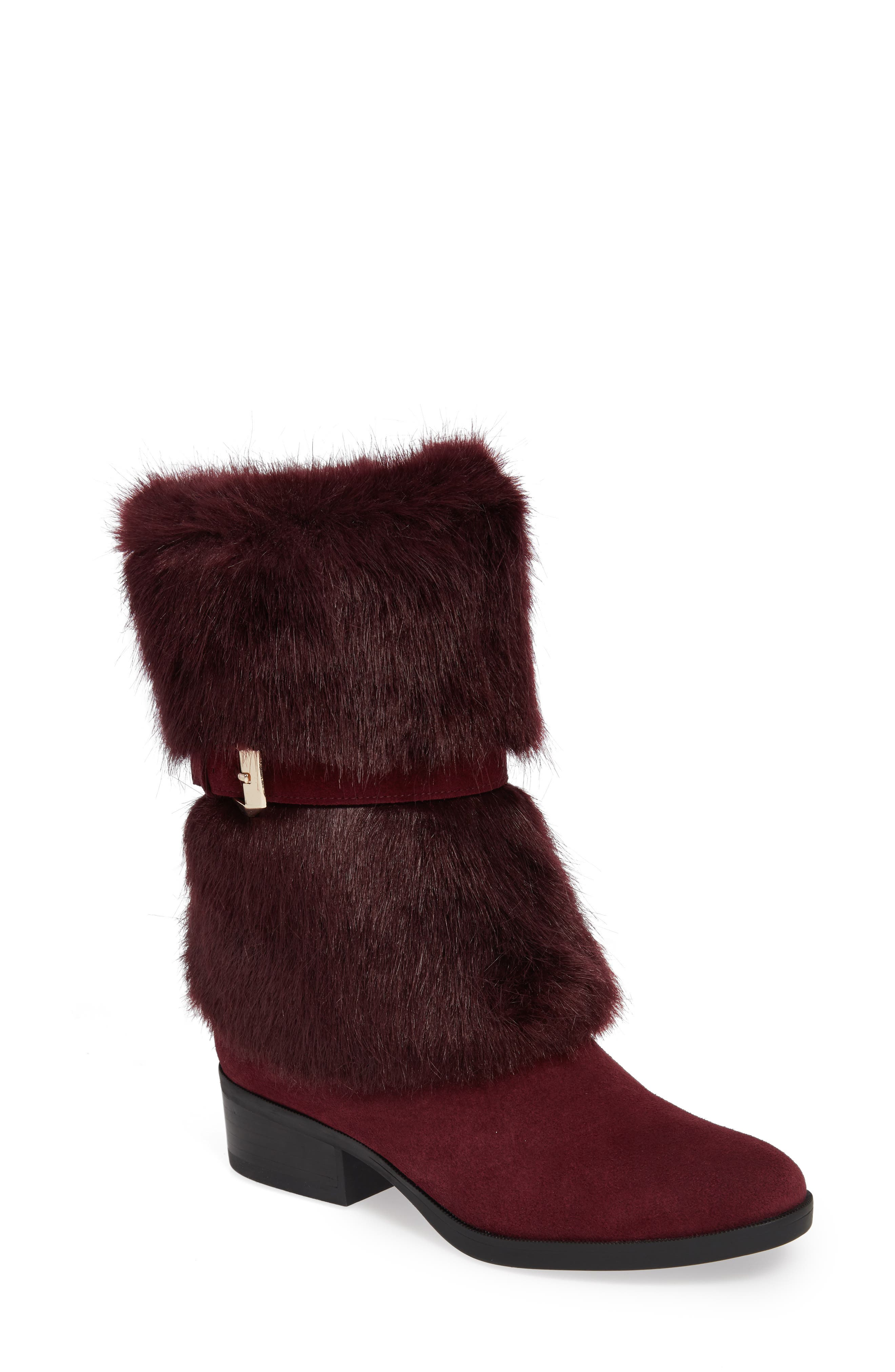 Taryn Rose Giselle Water Resistant Faux Fur Boot- Red