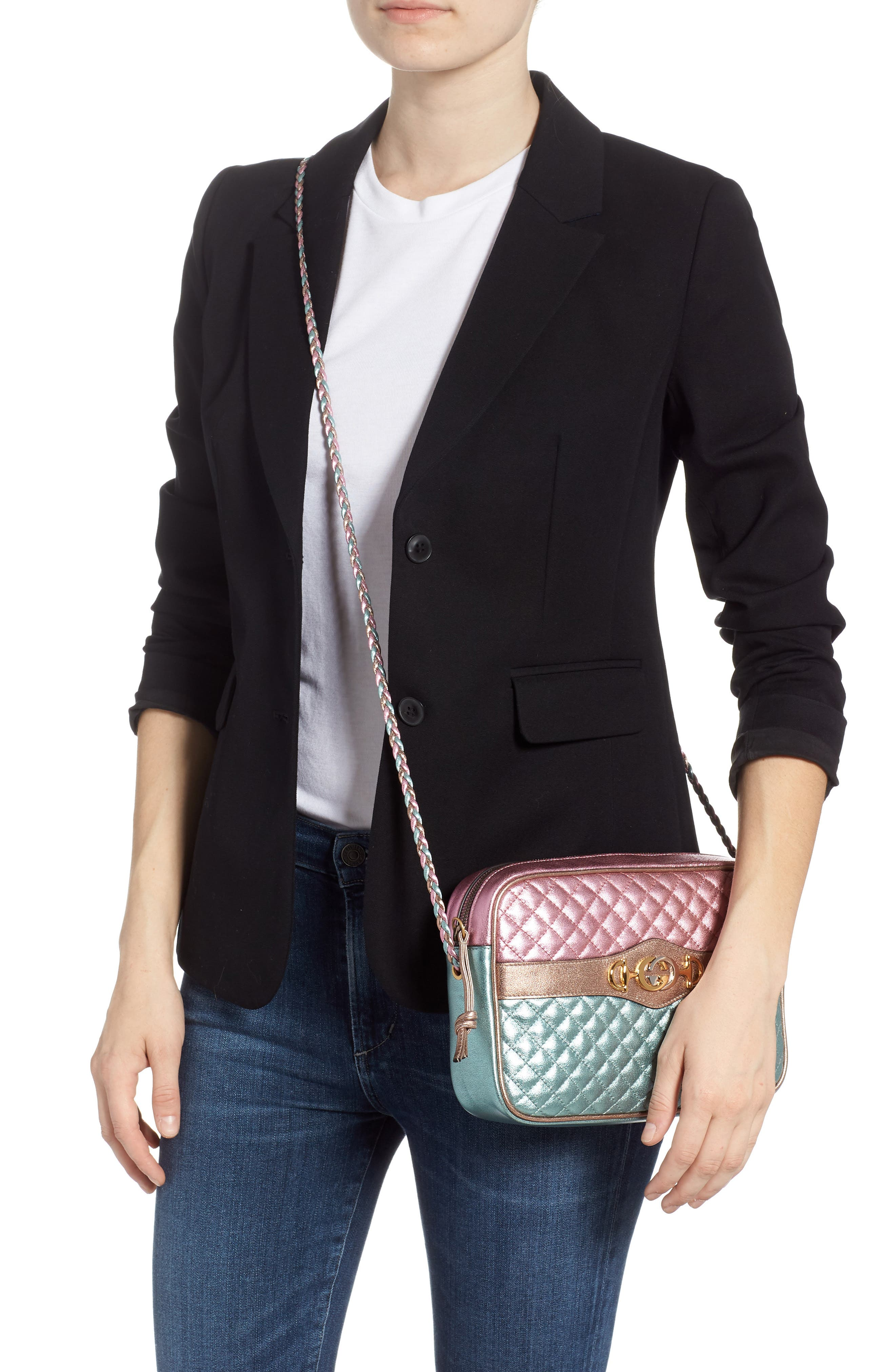 GUCCI, Small Quilted Metallic Leather Shoulder Bag, Alternate thumbnail 2, color, ROSE/ BLUE