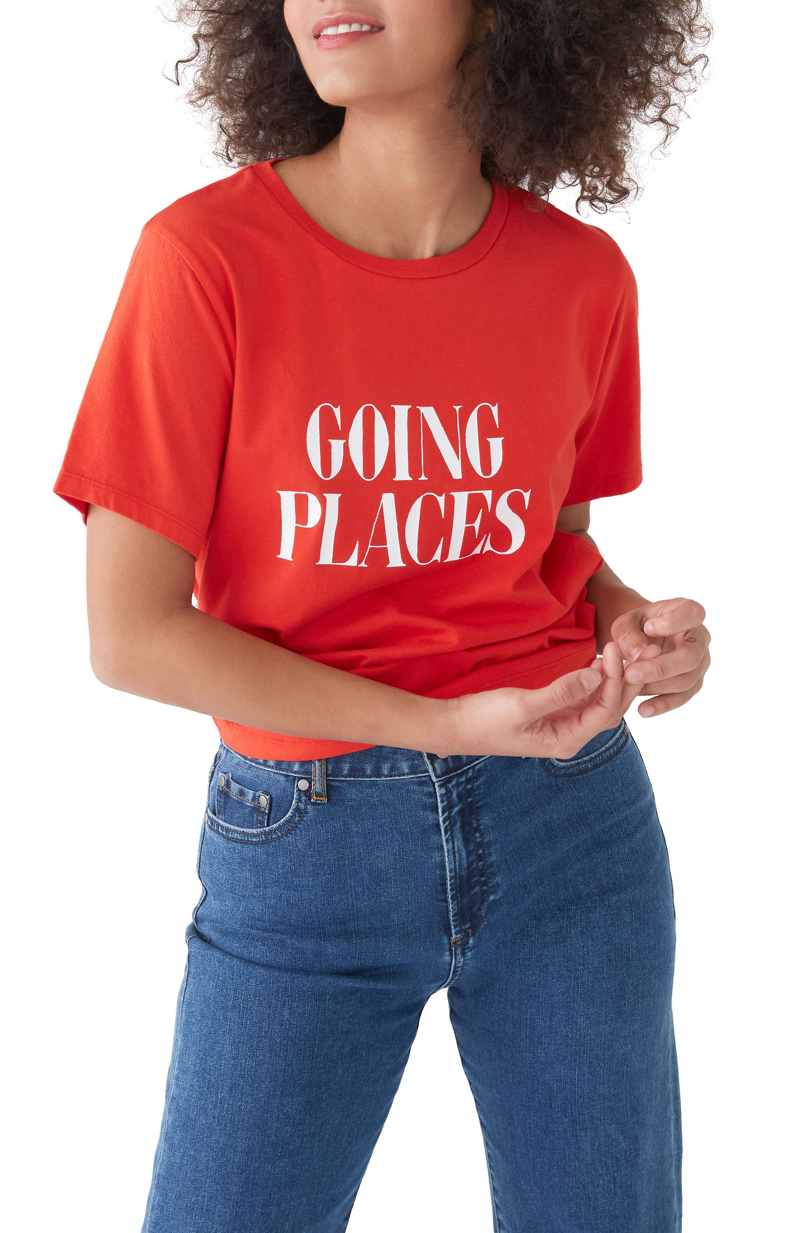 BAN.DO, Going Places Classic Tee, Main thumbnail 1, color, TOMATO RED