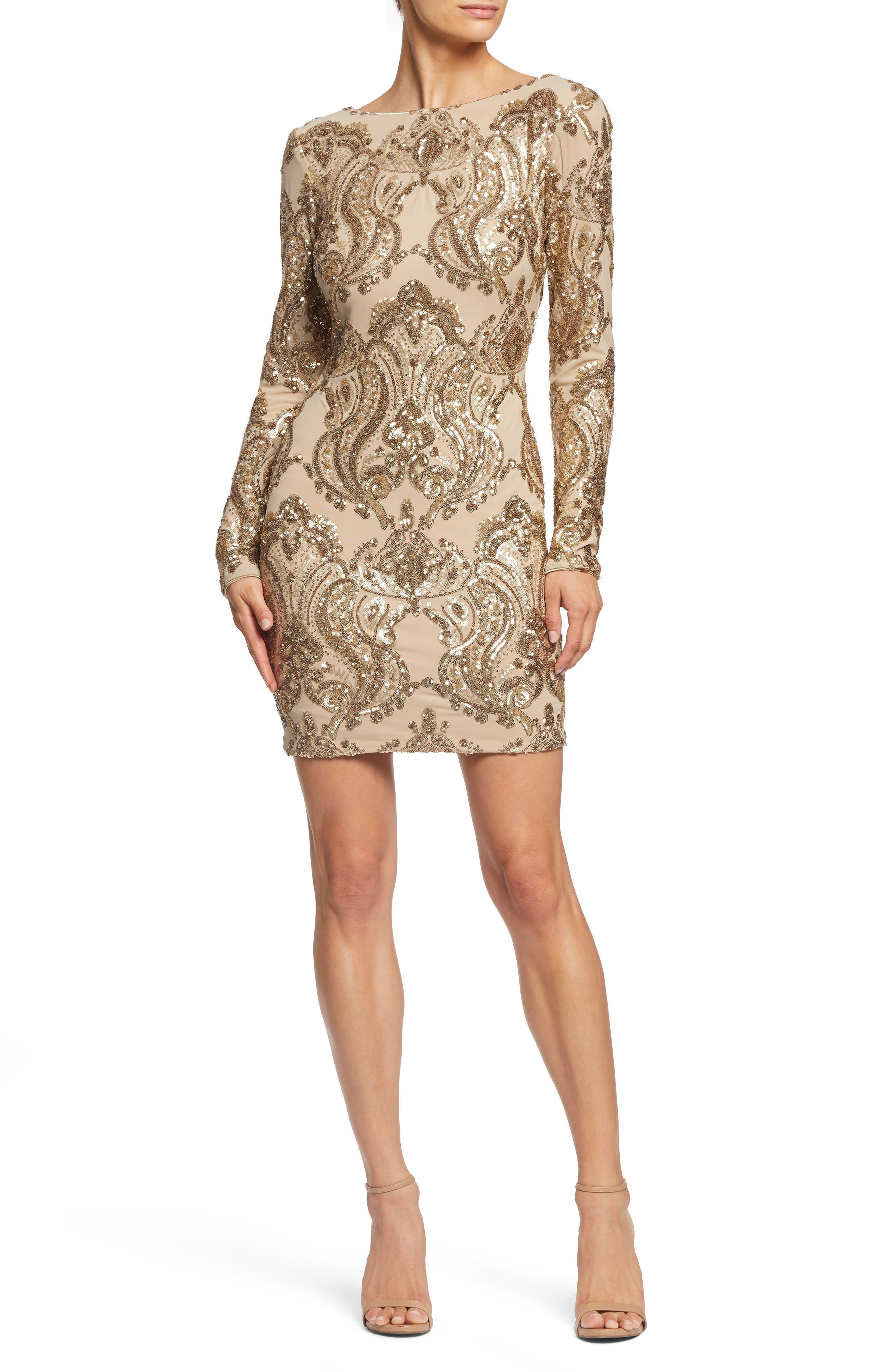 DRESS THE POPULATION, Lola Sequin Body-Con Dress, Main thumbnail 1, color, NUDE/ GOLD