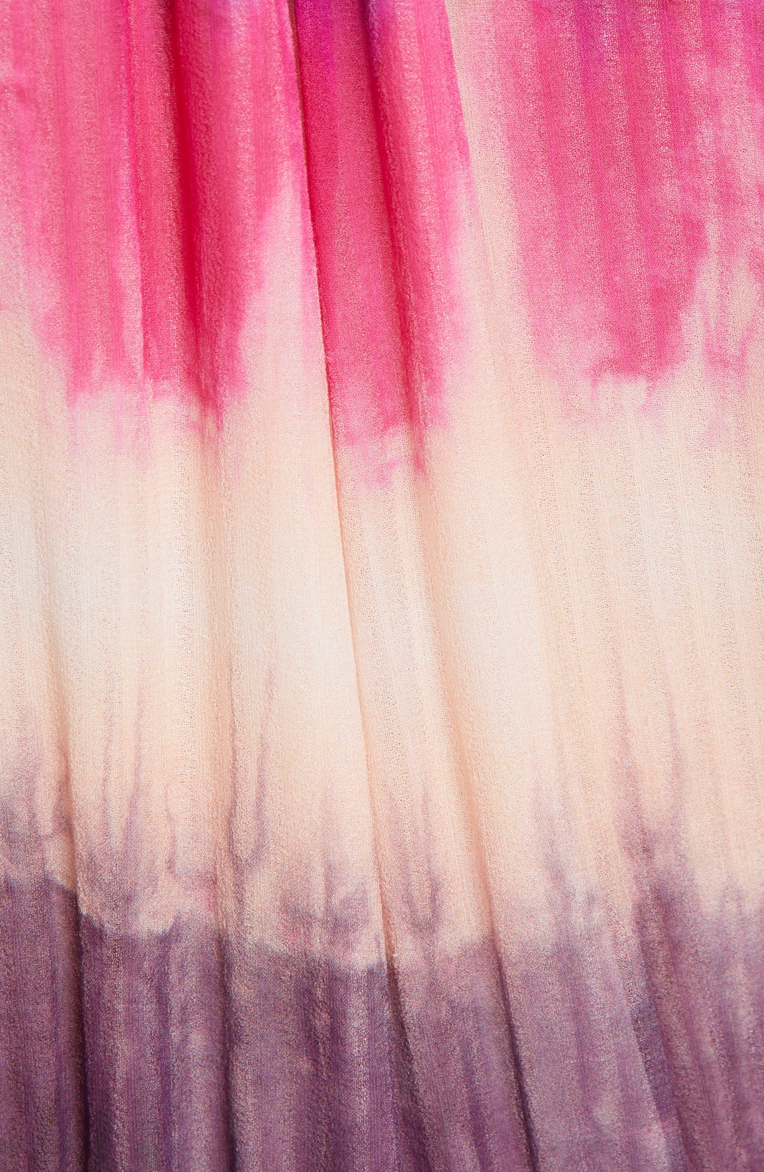 TANYA TAYLOR, Valeria Tie Dye Silk Faux Wrap Dress, Alternate thumbnail 5, color, TIE DYE STRIPE