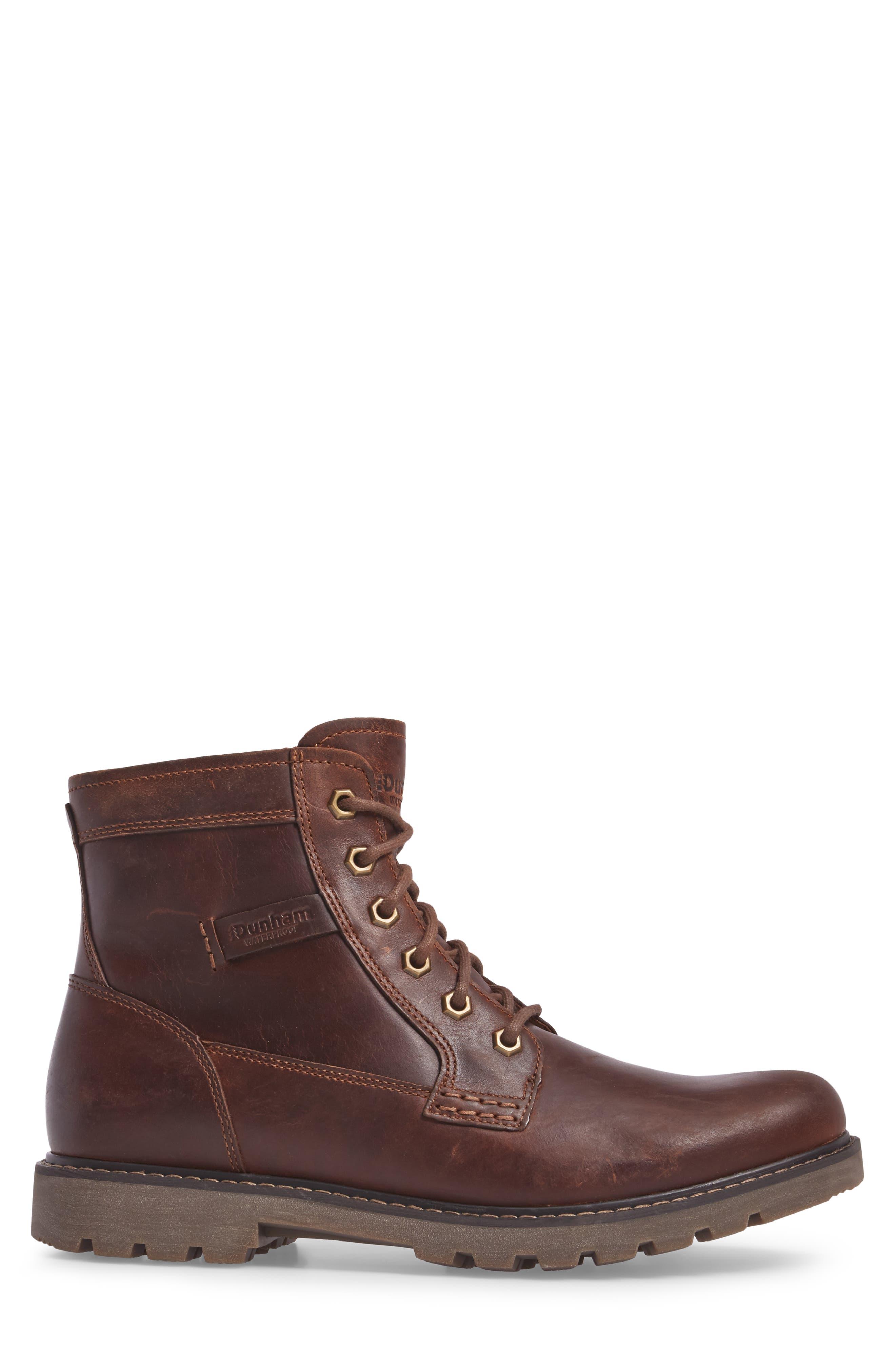 DUNHAM, Royalton Plain Toe Boot, Alternate thumbnail 3, color, BROWN