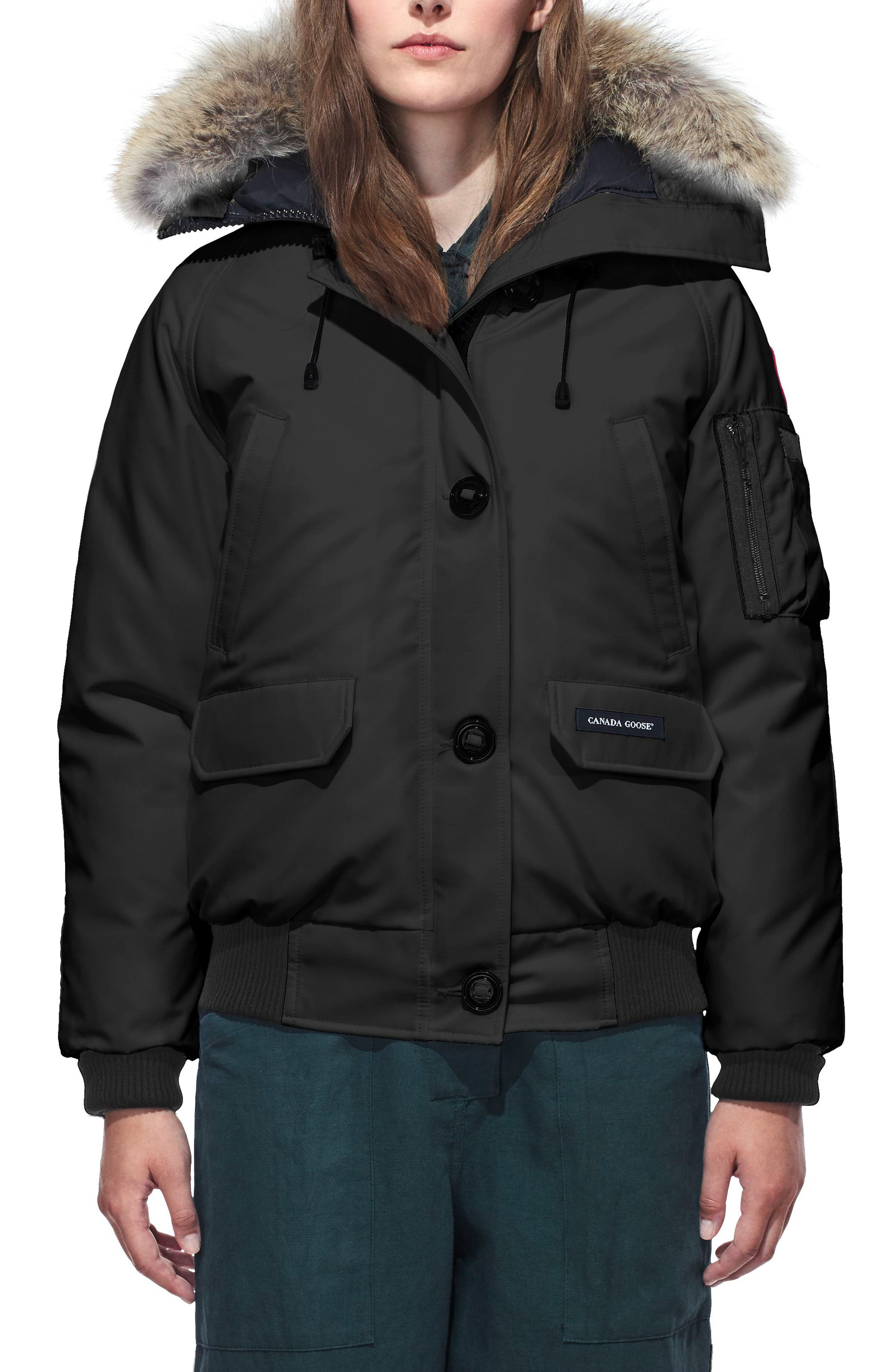 CANADA GOOSE, Chilliwack Fusion Fit 625 Fill Power Down Bomber Jacket with Genuine Coyote Fur Trim, Main thumbnail 1, color, BLACK