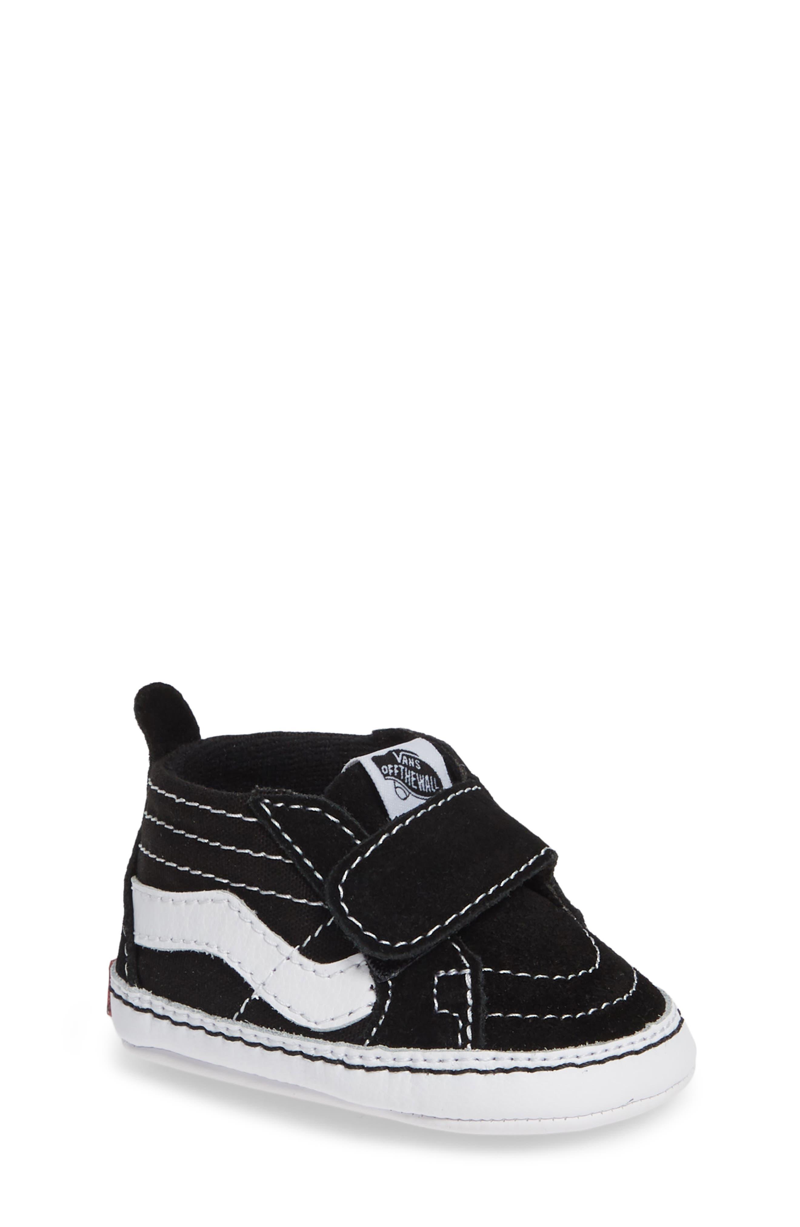 VANS, 'SK8-Hi' Crib Sneaker, Main thumbnail 1, color, BLACK/TRUE WHITE