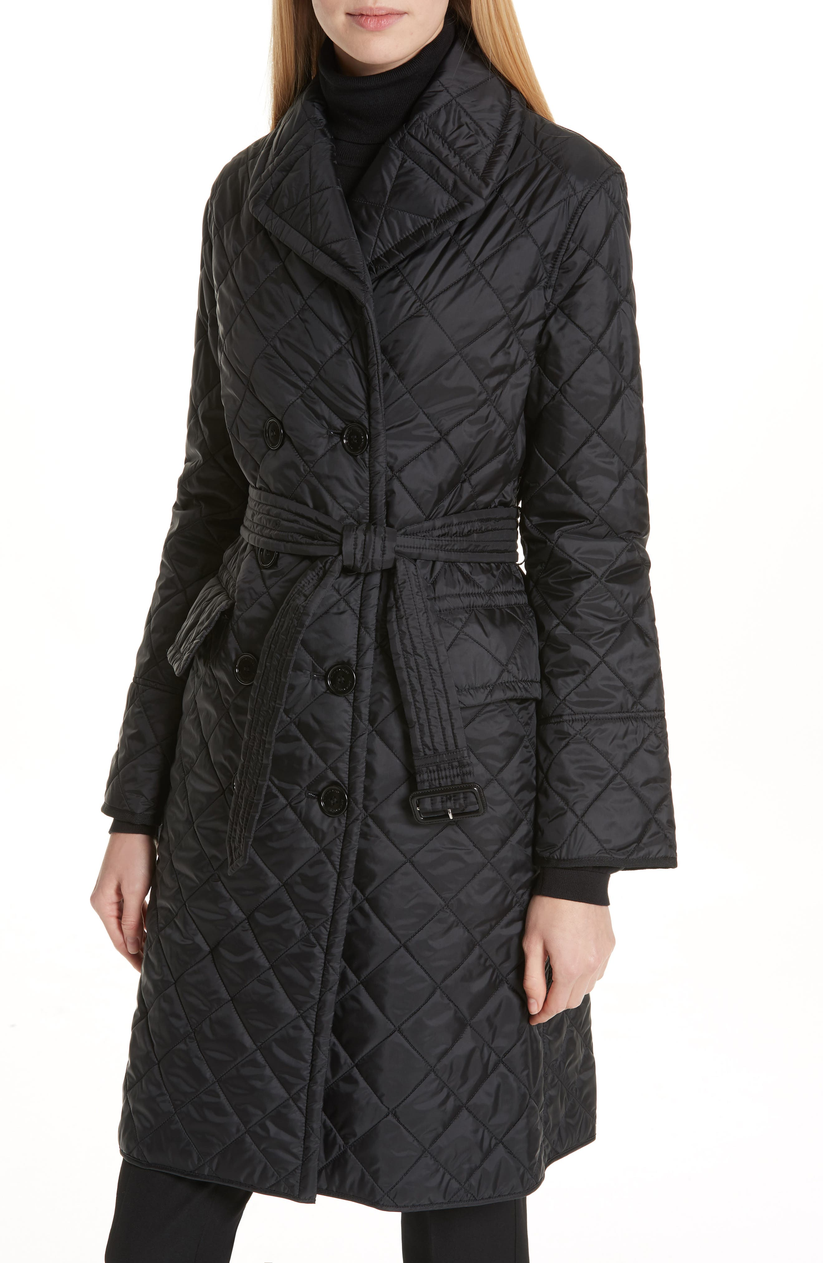 BURBERRY, Horberie Quilted Trench Coat, Alternate thumbnail 4, color, BLACK