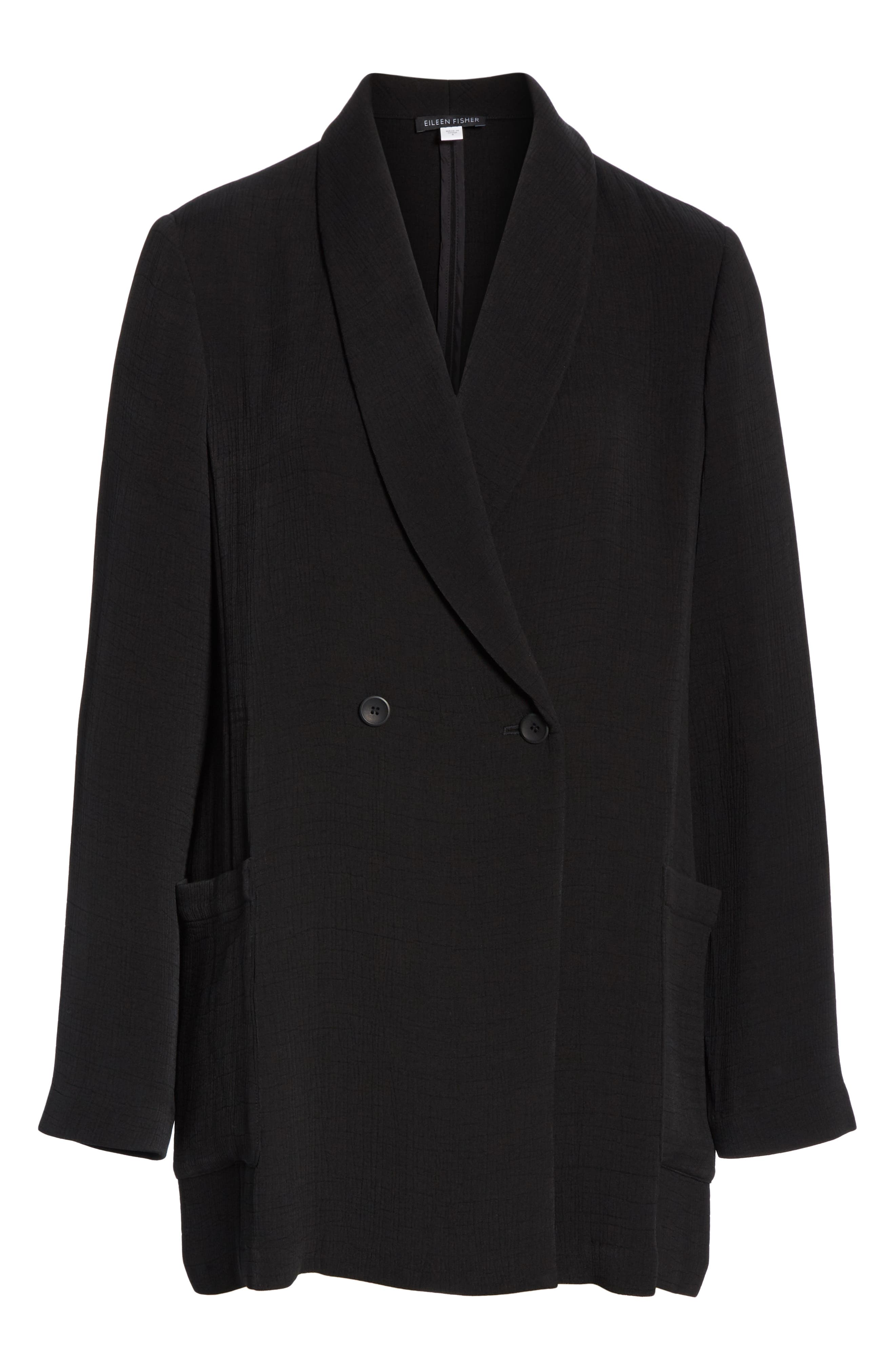 EILEEN FISHER, Double Breasted Blazer, Alternate thumbnail 5, color, BLACK