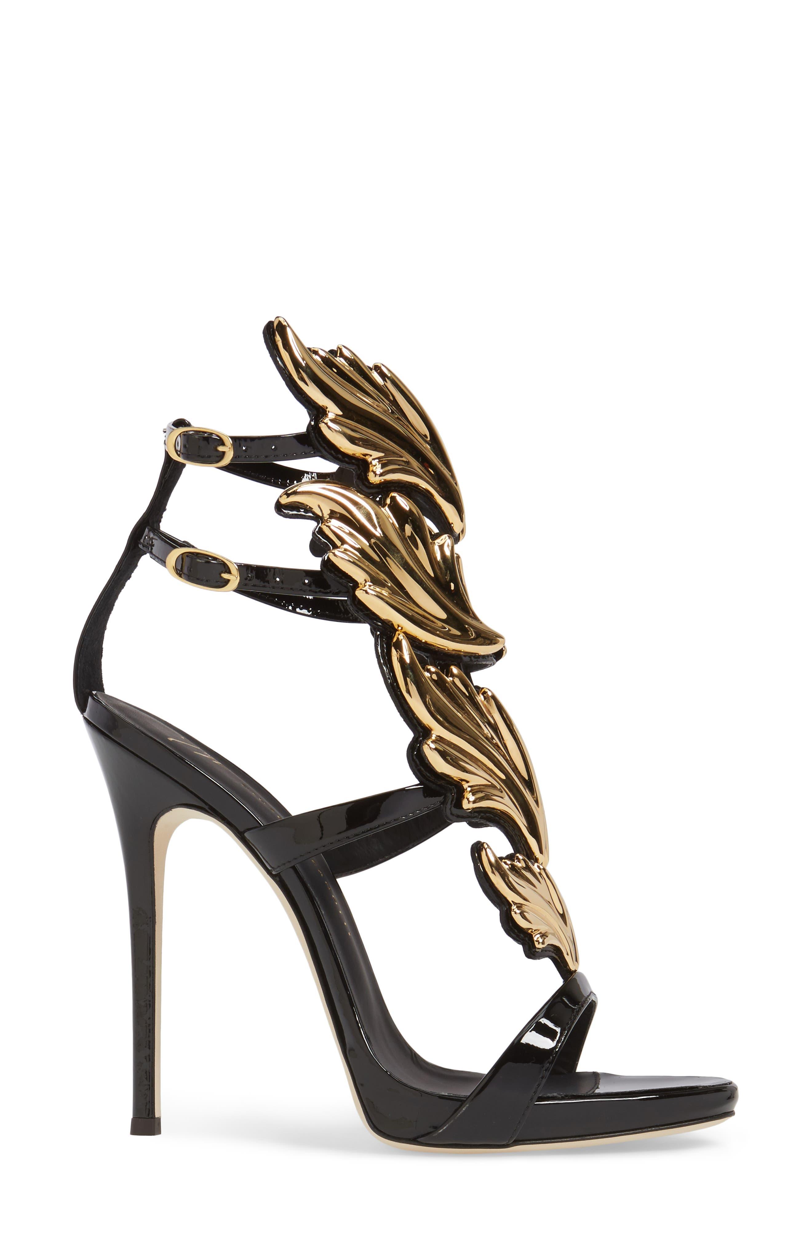 GIUSEPPE ZANOTTI, Cruel Wing Sandal, Alternate thumbnail 3, color, BLACK/ GOLD