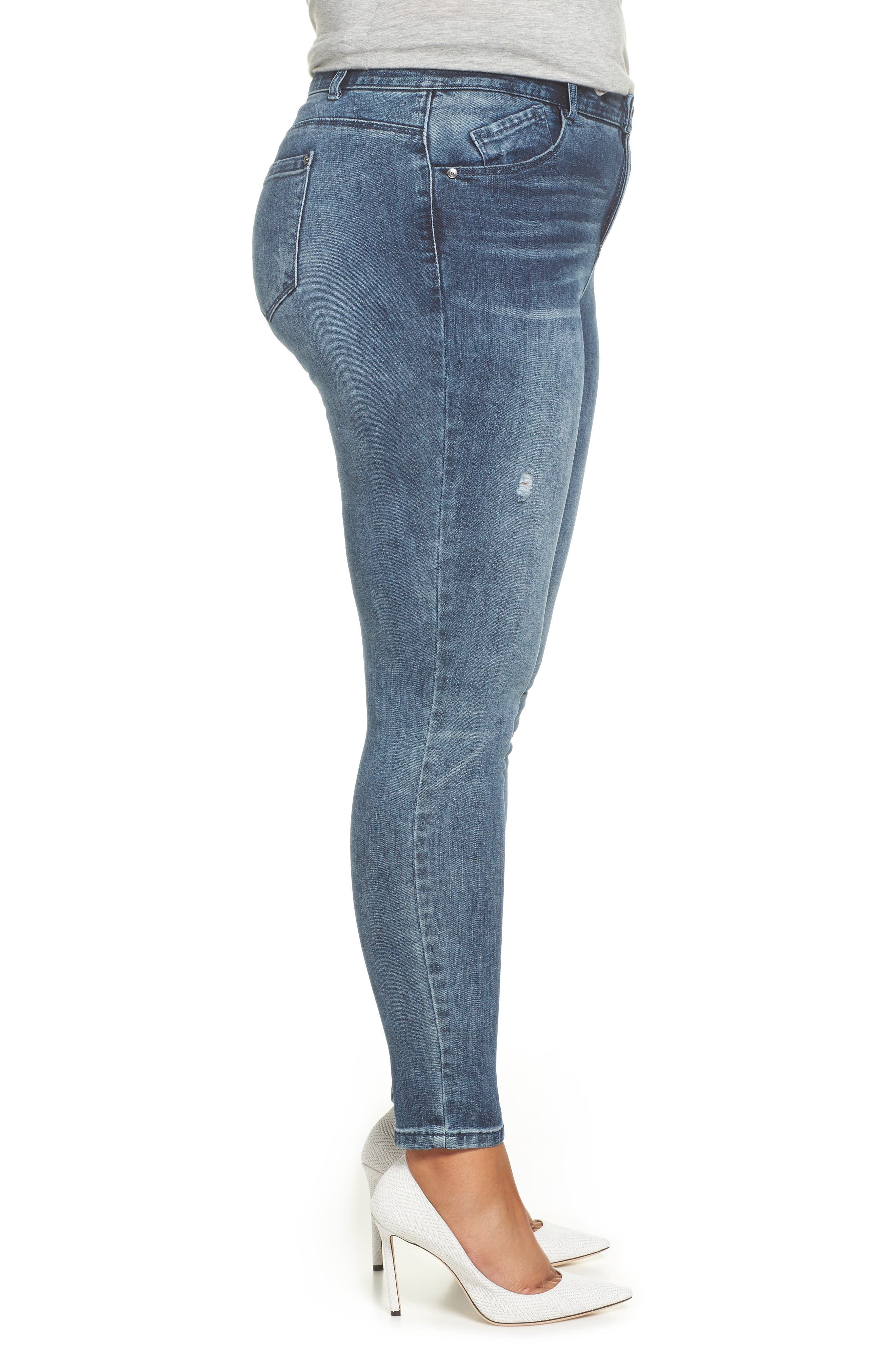 WIT & WISDOM, 30/10 High Rise Ab-solution Skinny Fit Jeans, Alternate thumbnail 4, color, BLUE