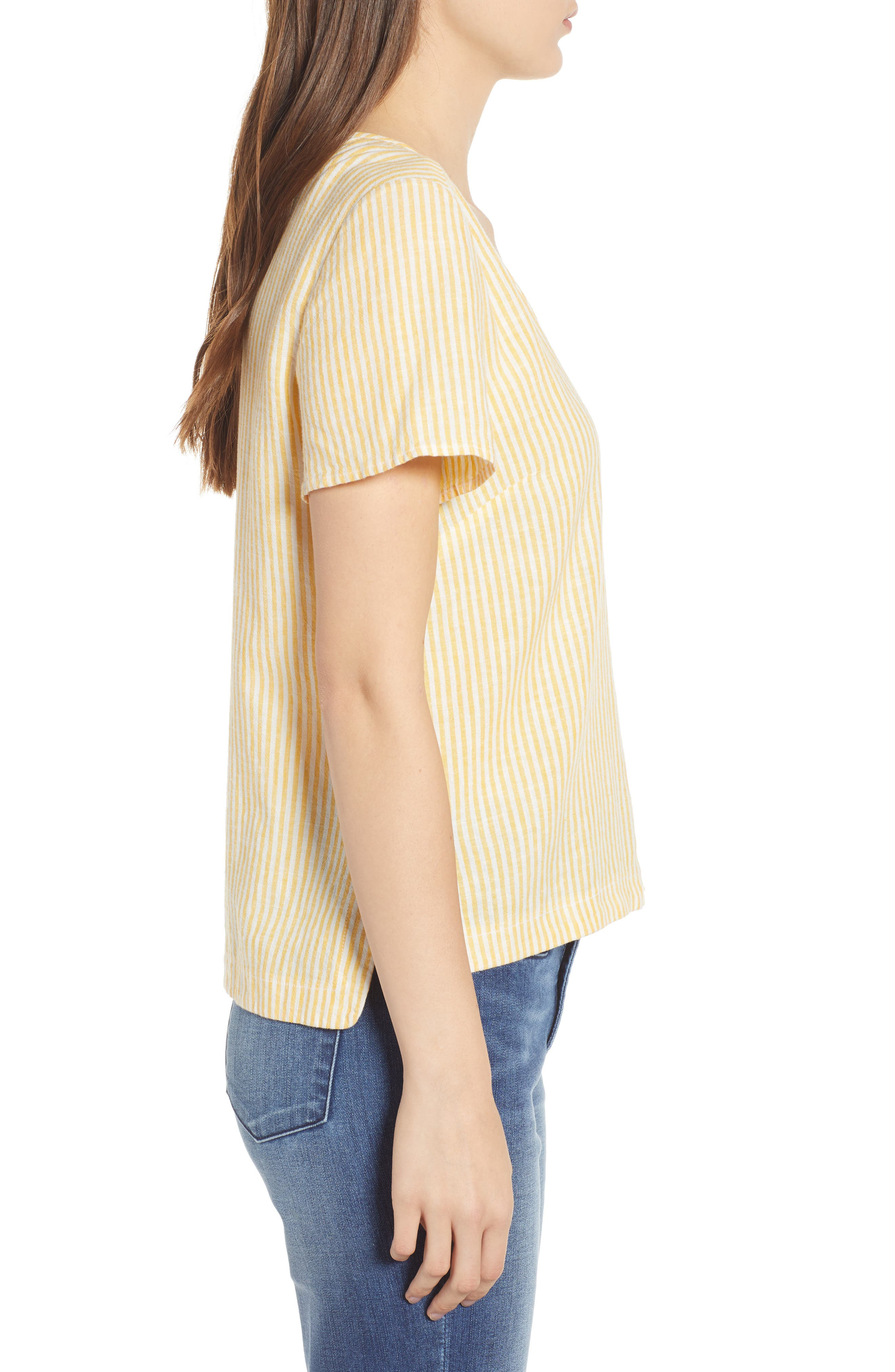 BP., Button Front Linen Blend Top, Alternate thumbnail 4, color, YELLOW WHIP MARA STRIPE