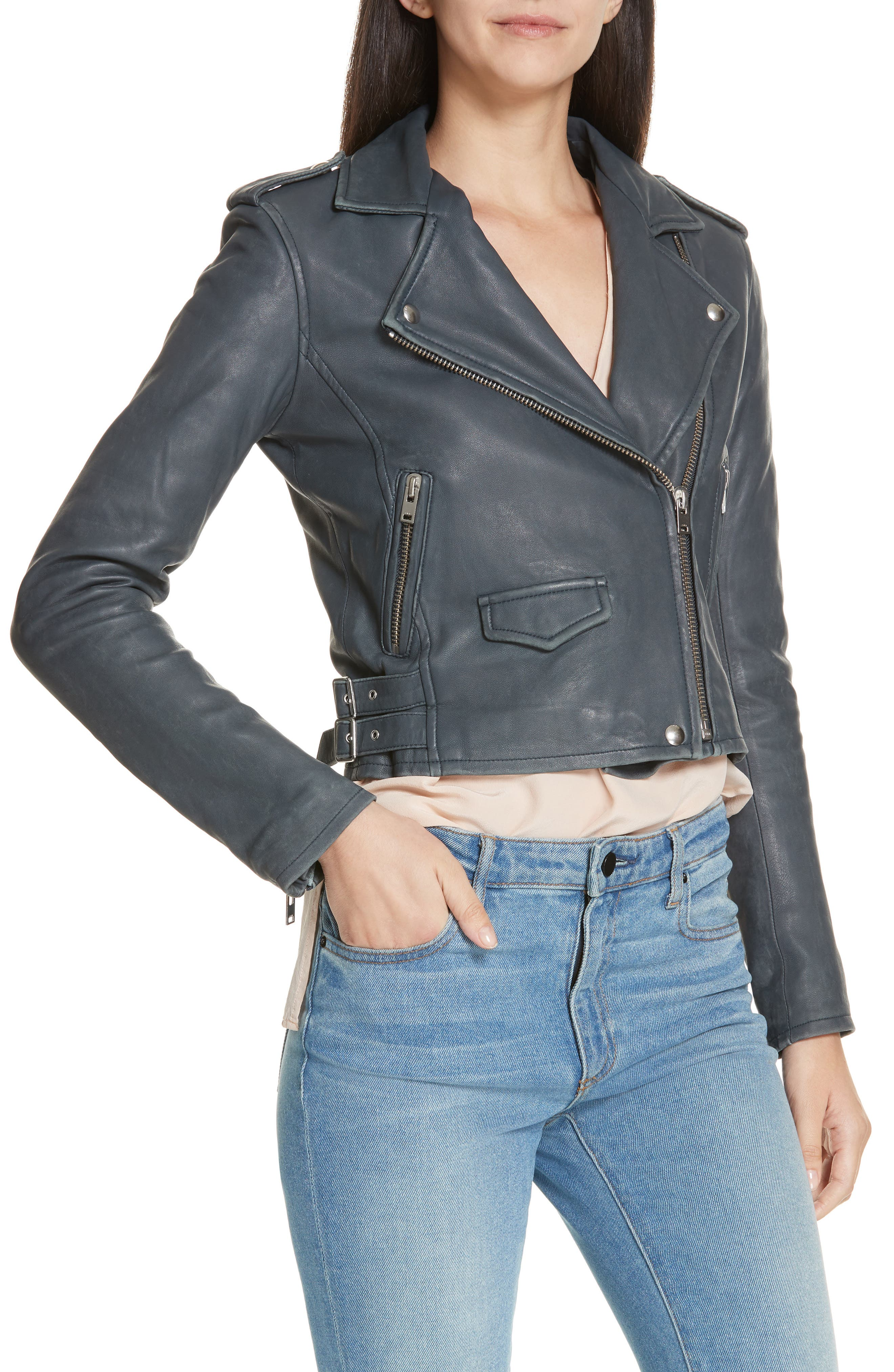 IRO, 'Ashville' Leather Jacket, Alternate thumbnail 5, color, GREY DENIM