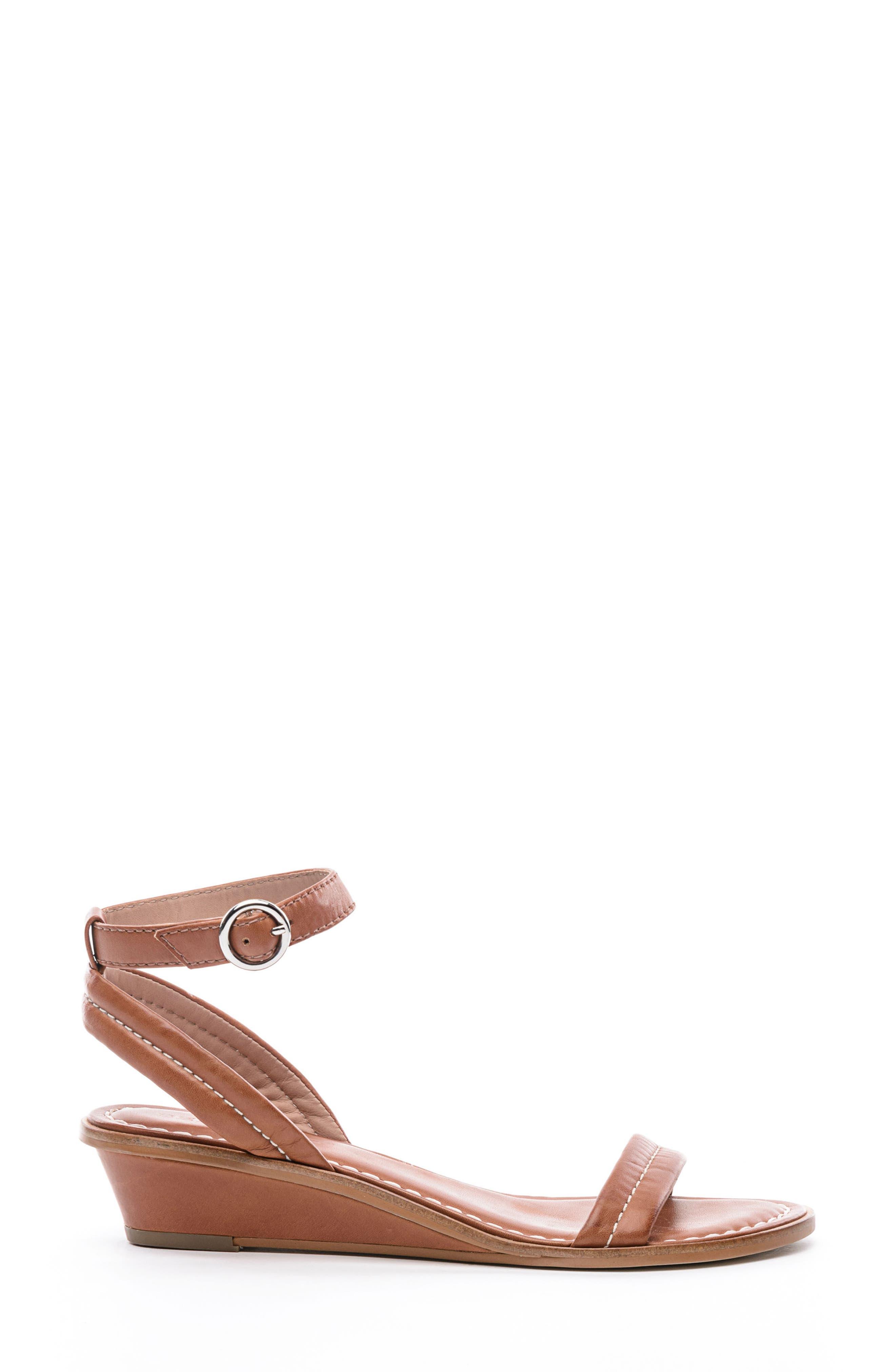 BERNARDO, Catherine Ankle Strap Sandal, Alternate thumbnail 3, color, LUGGAGE BROWN ANTIQUE