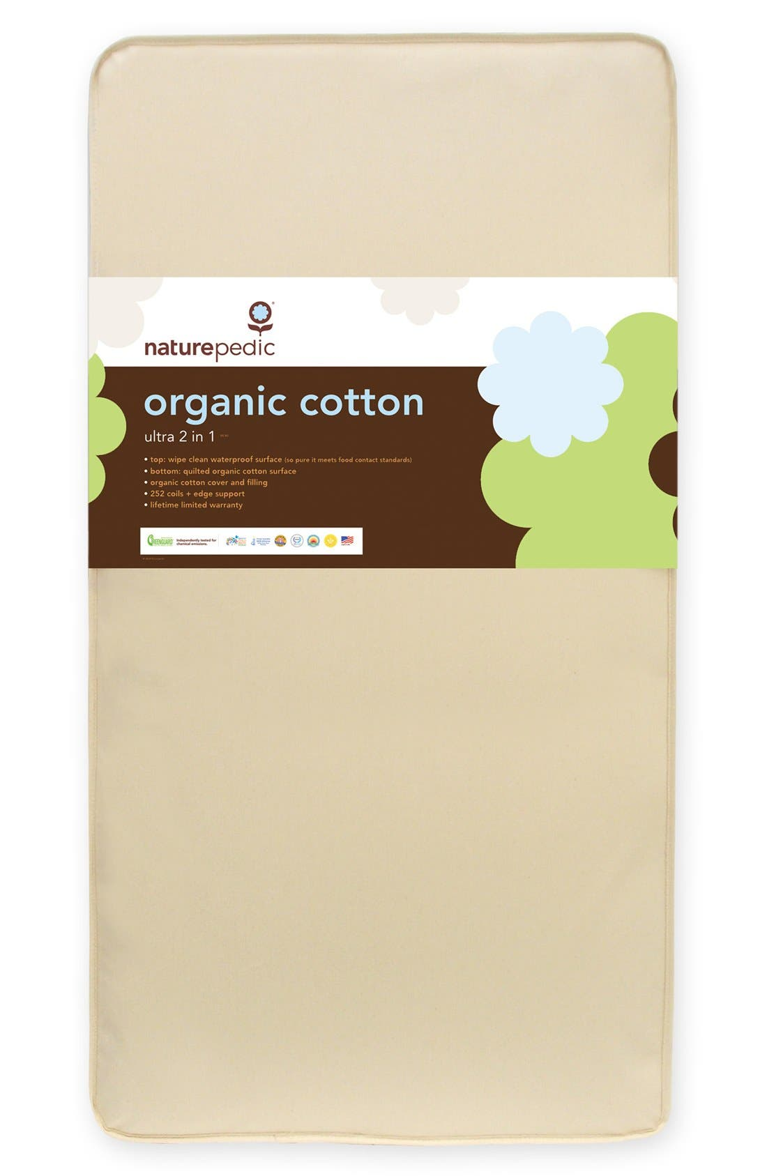 NATUREPEDIC, '252' Organic Cotton 2-in-1 Ultra/Quilted Crib Mattress, Alternate thumbnail 2, color, NATURAL
