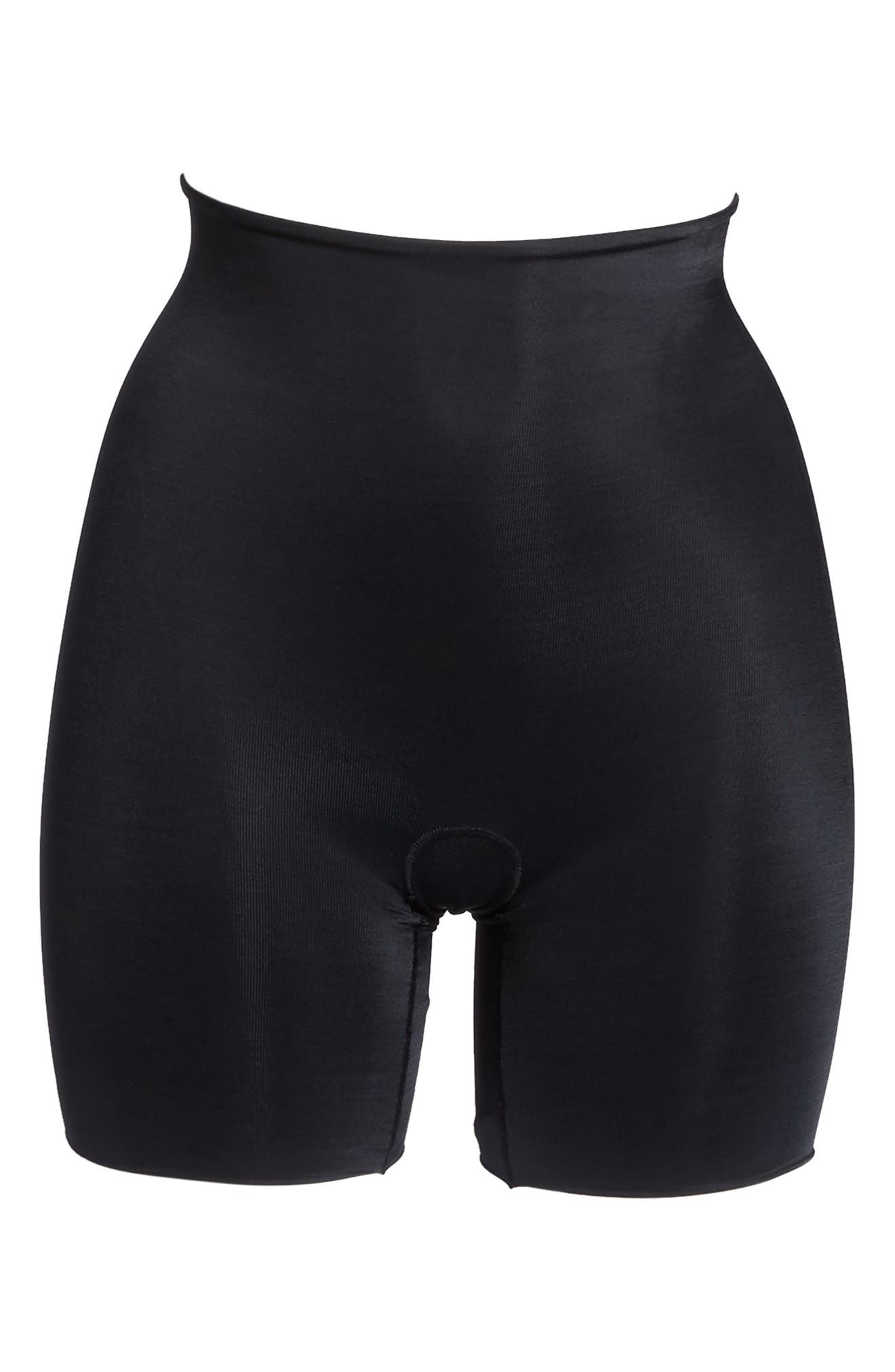 SPANX<SUP>®</SUP>, Power Conceal-Her Mid Thigh Shaping Shorts, Alternate thumbnail 5, color, VERY BLACK