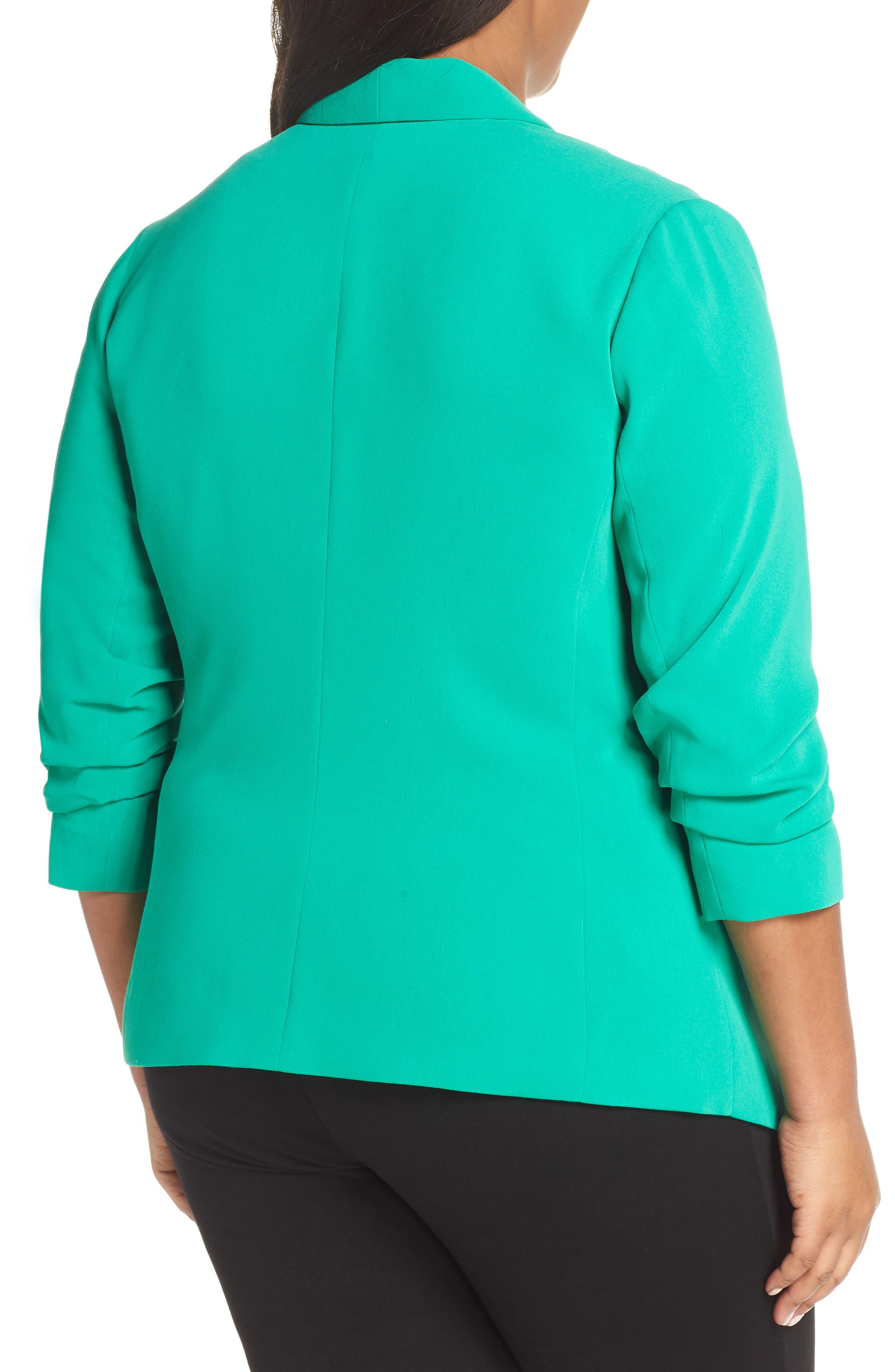 SEJOUR, Gathered Sleeve Blazer, Alternate thumbnail 2, color, GREEN PARAKEET