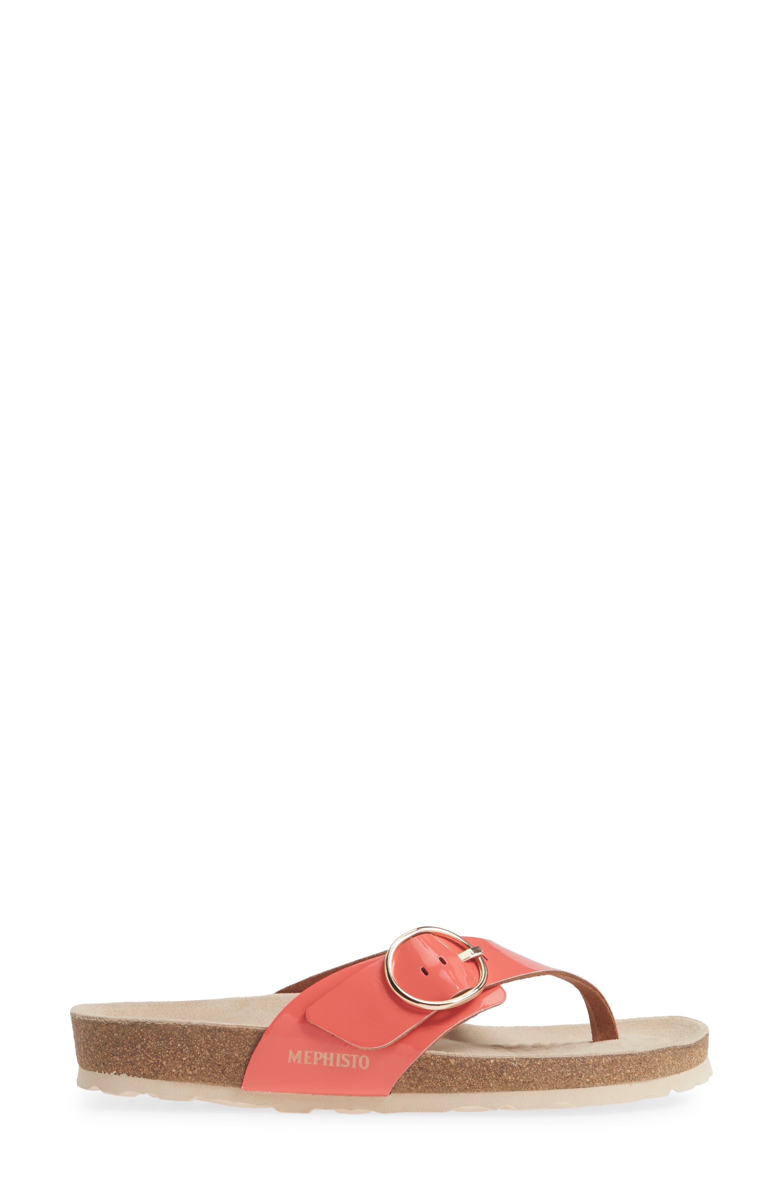MEPHISTO, Natalina Slide Flip Flop, Alternate thumbnail 3, color, CORAL PATENT LEATHER