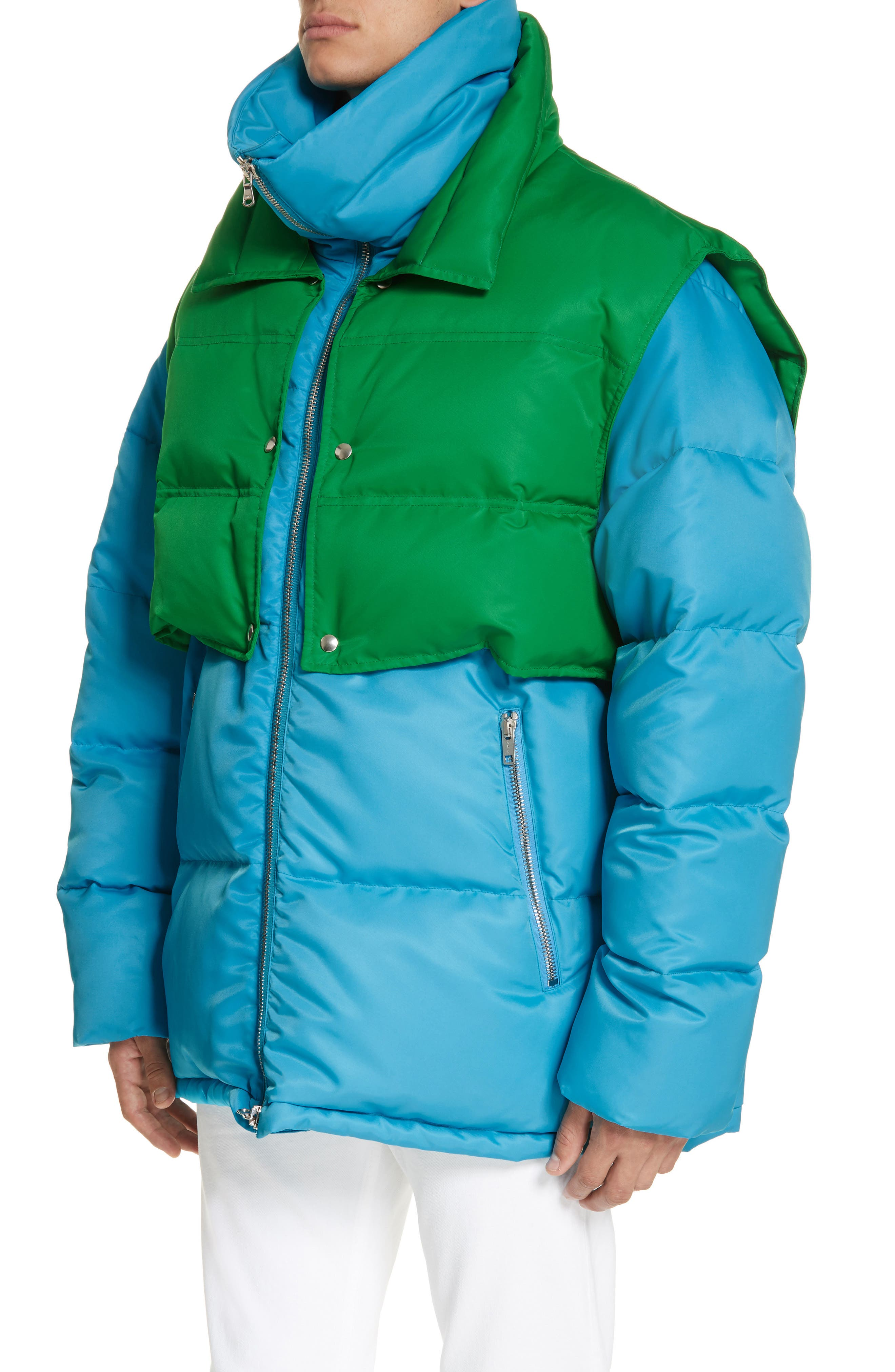 CALVIN KLEIN 205W39NYC, Water Repellent Quilted Puffer Jacket, Alternate thumbnail 4, color, RIVIERA BLUE SPRING GREEN