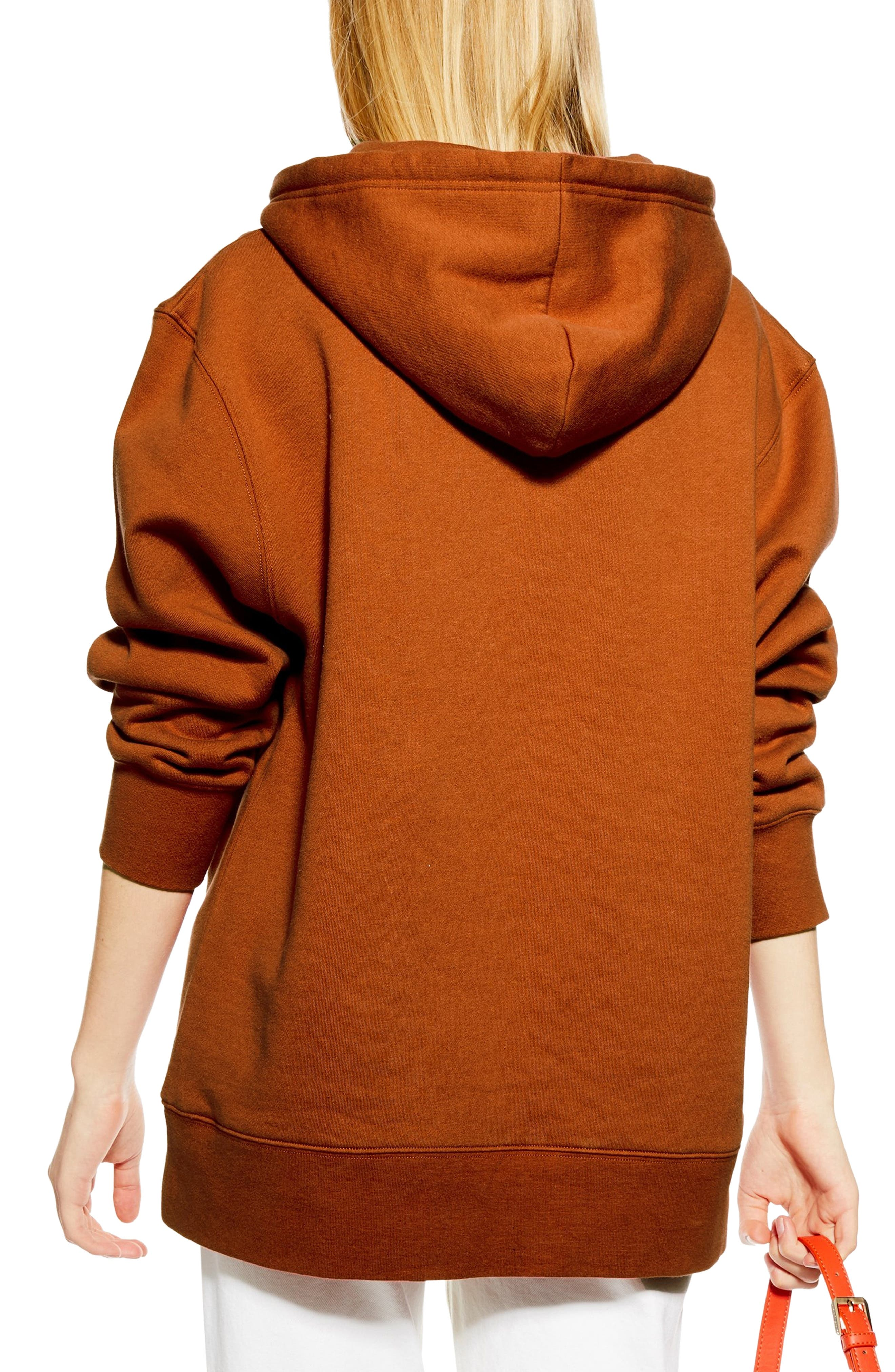 TOPSHOP, Relaxed Hooded Sweatshirt, Alternate thumbnail 2, color, RUST
