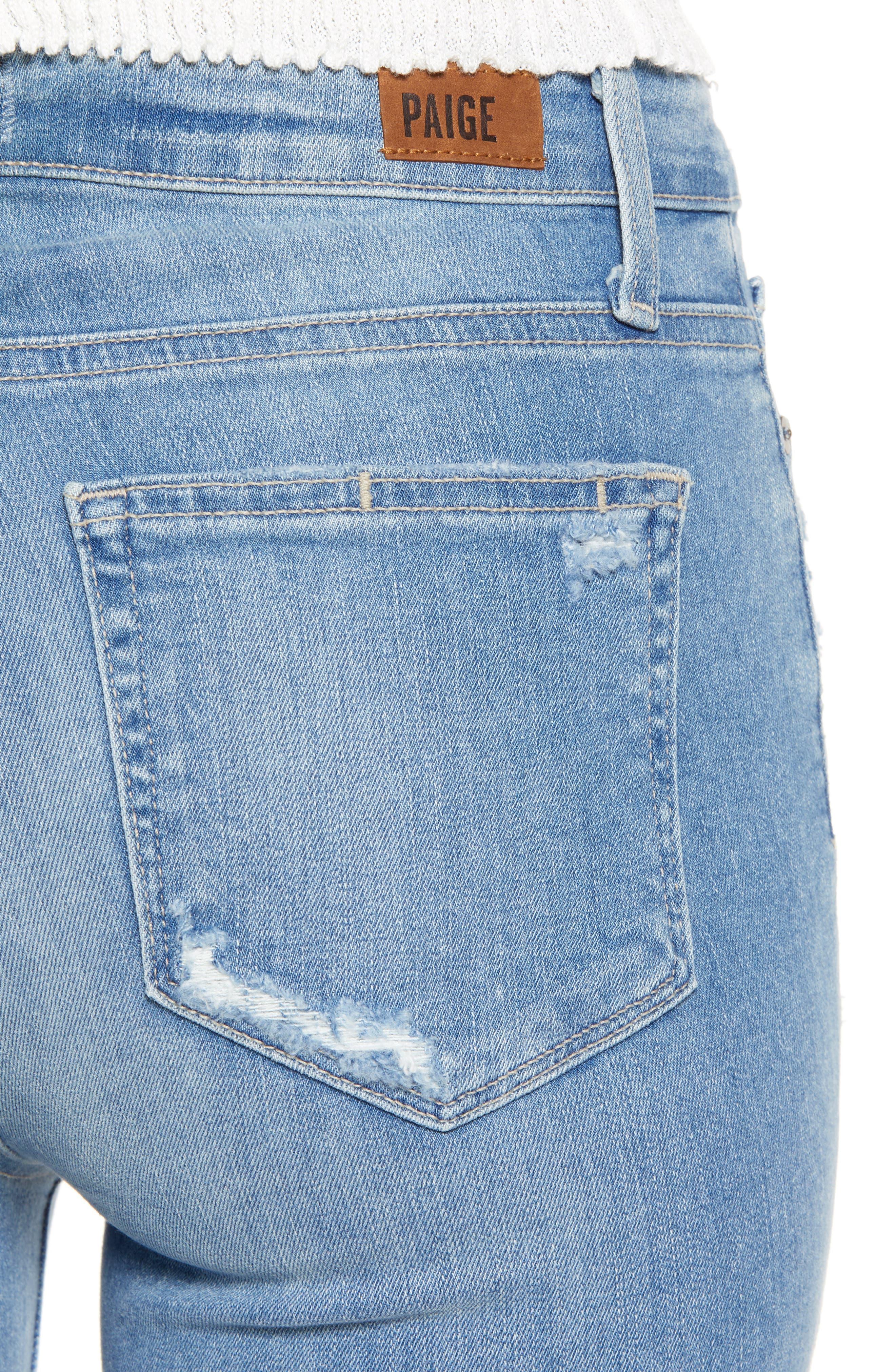 PAIGE, Hoxton Transcend Vintage High Waist Crop Skinny Jeans, Alternate thumbnail 5, color, ATTERBURY W/ TORN BACK HEM