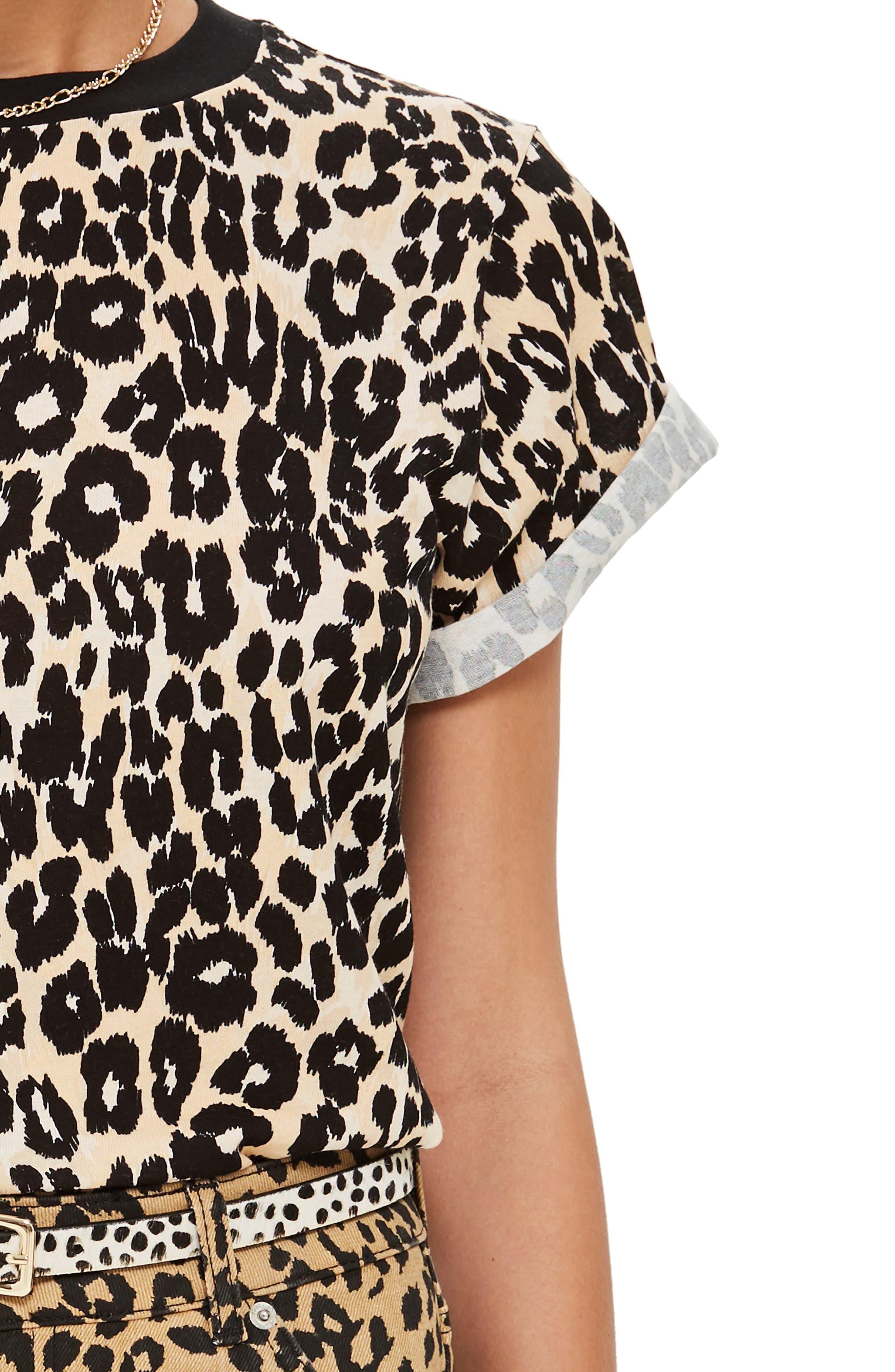 TOPSHOP, Leopard Print Tee, Alternate thumbnail 3, color, 001