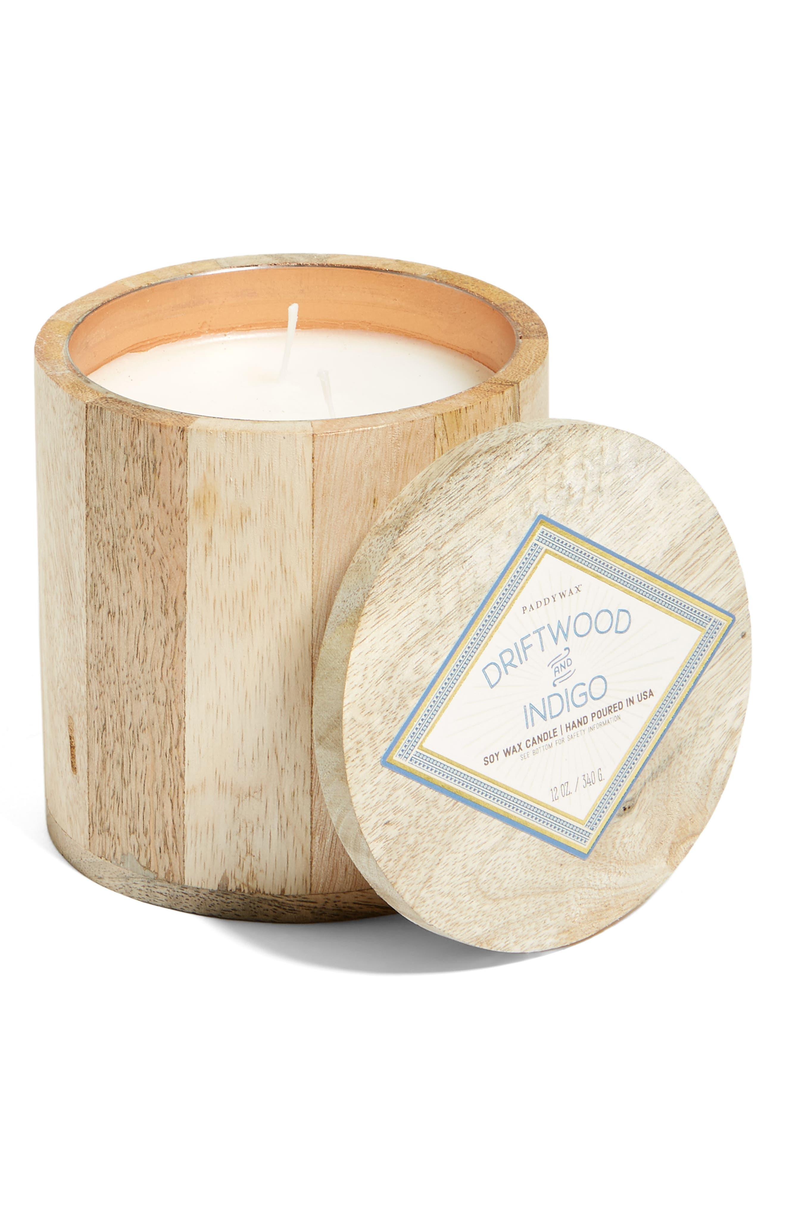 PADDYWAX Driftwood & Indigo Soy Wax Candle, Main, color, 200