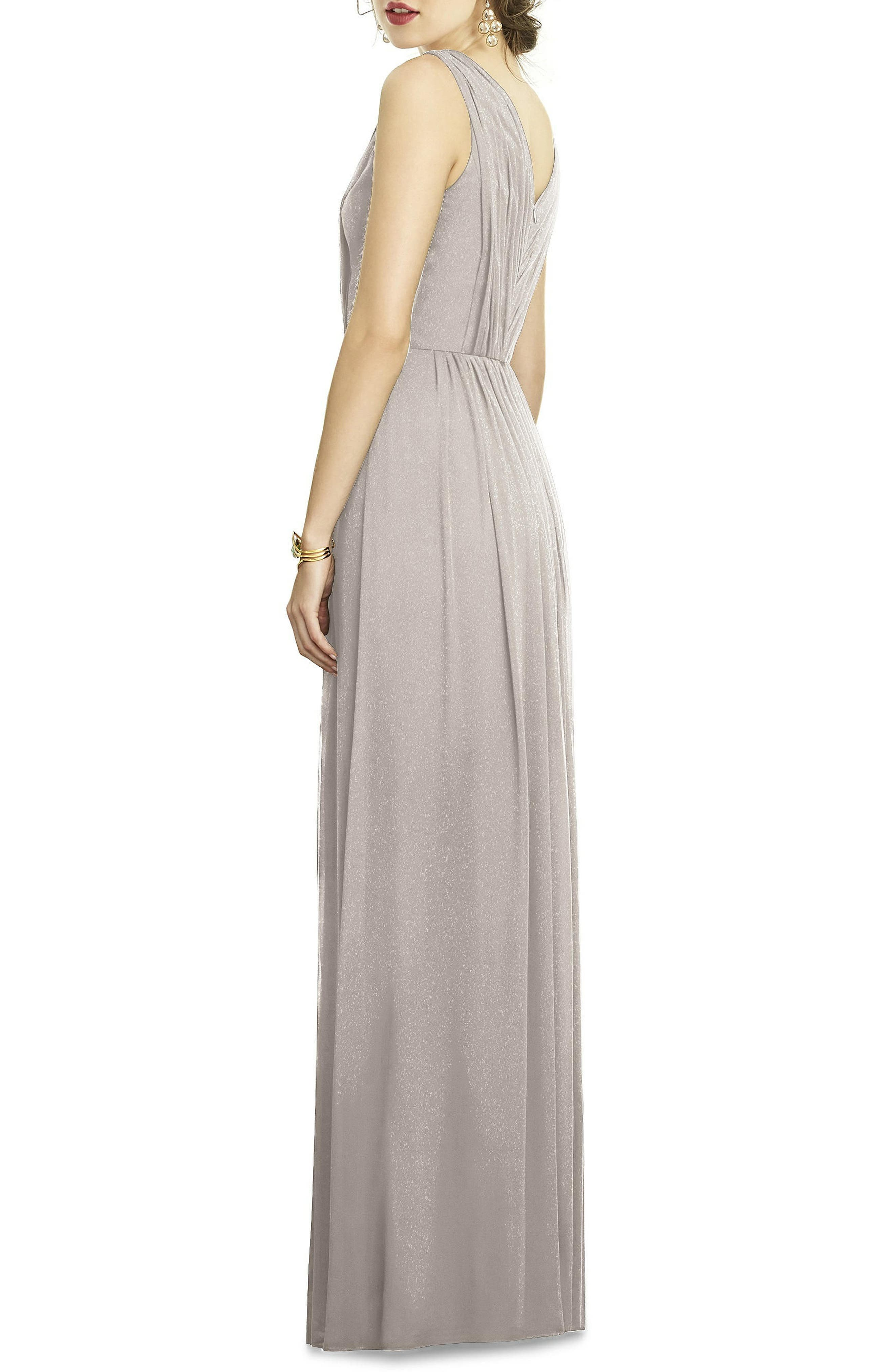 DESSY COLLECTION, Shirred Shimmer Chiffon Gown, Alternate thumbnail 2, color, TAUPE SILVER