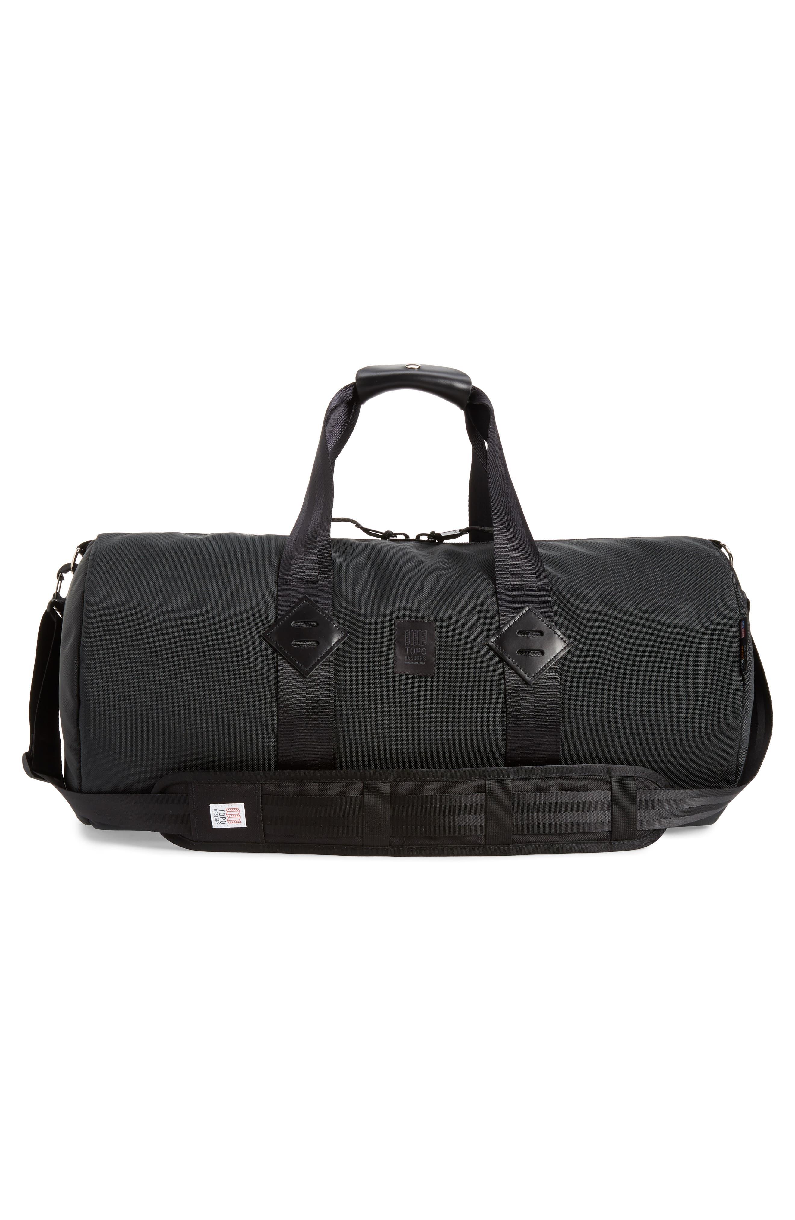 TOPO DESIGNS, Classic Duffle Bag, Alternate thumbnail 2, color, BALLISTIC BLACK/ BLACK LEATHER