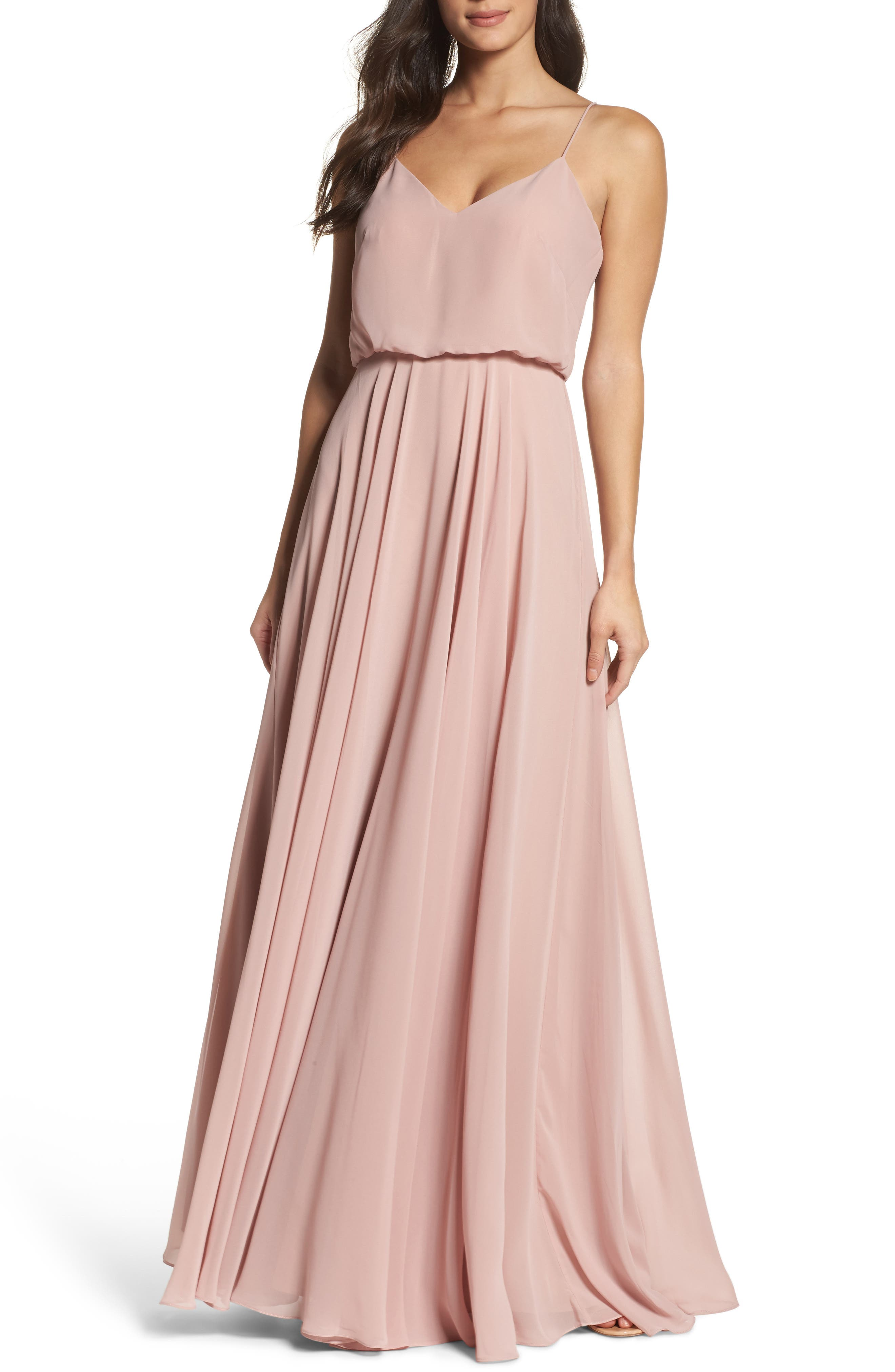 JENNY YOO Inesse Chiffon V-Neck Spaghetti Strap Gown, Main, color, WHIPPED APRICOT