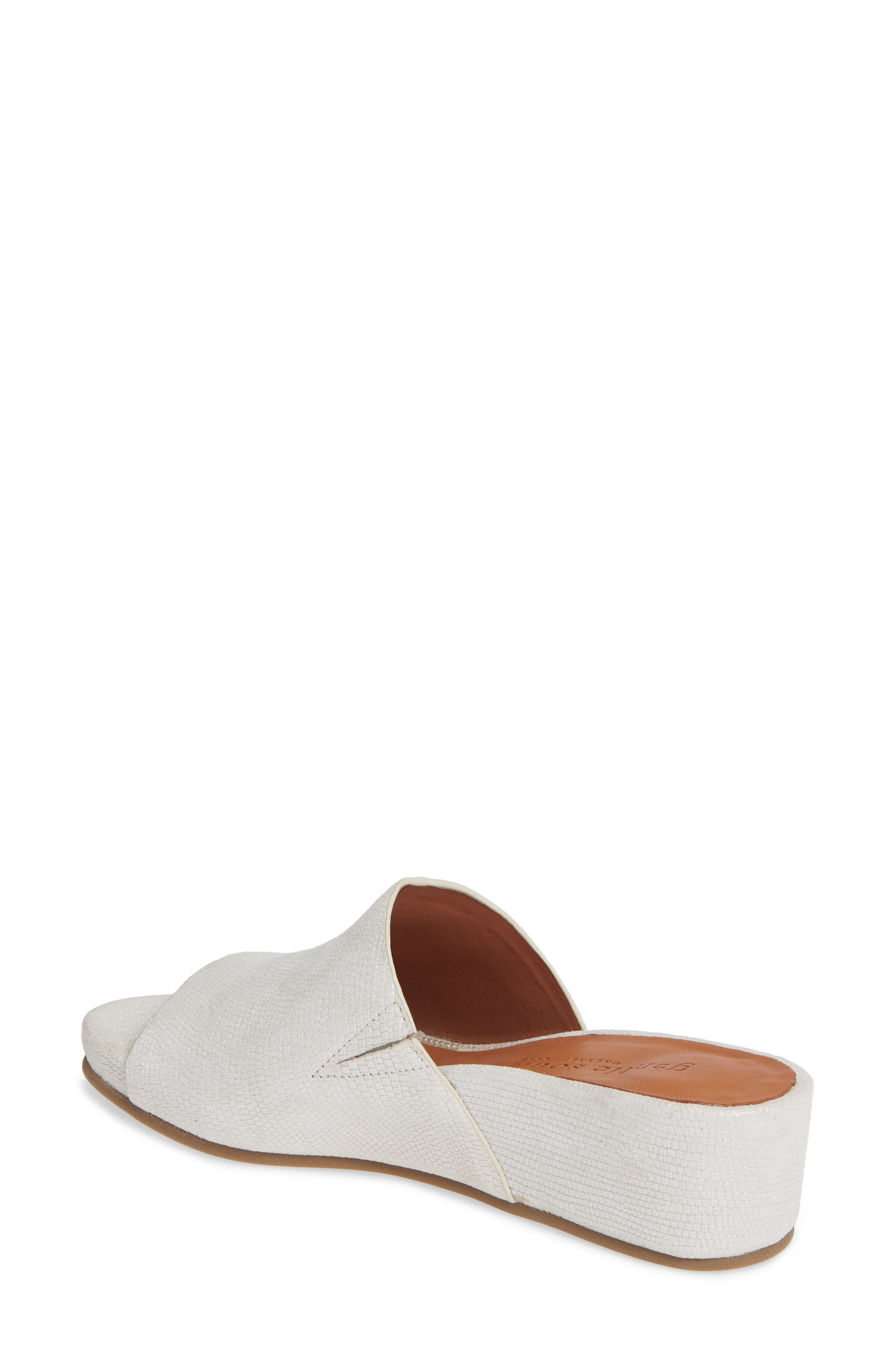 GENTLE SOULS BY KENNETH COLE, Gisele Wedge Slide Sandal, Alternate thumbnail 2, color, WHITE EMBOSSED LEATHER