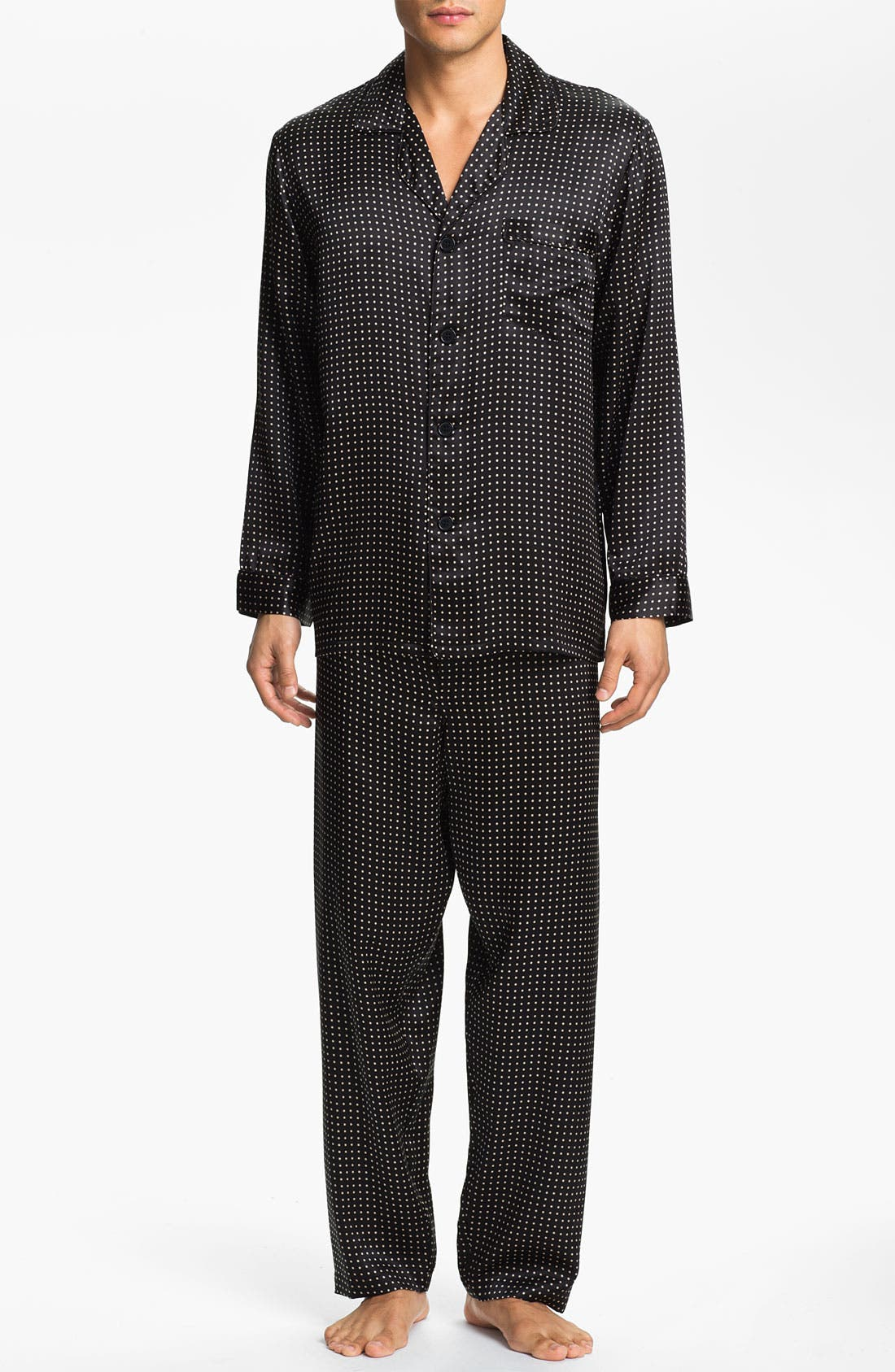 MAJESTIC INTERNATIONAL Dot Silk Pajamas, Main, color, BLACK