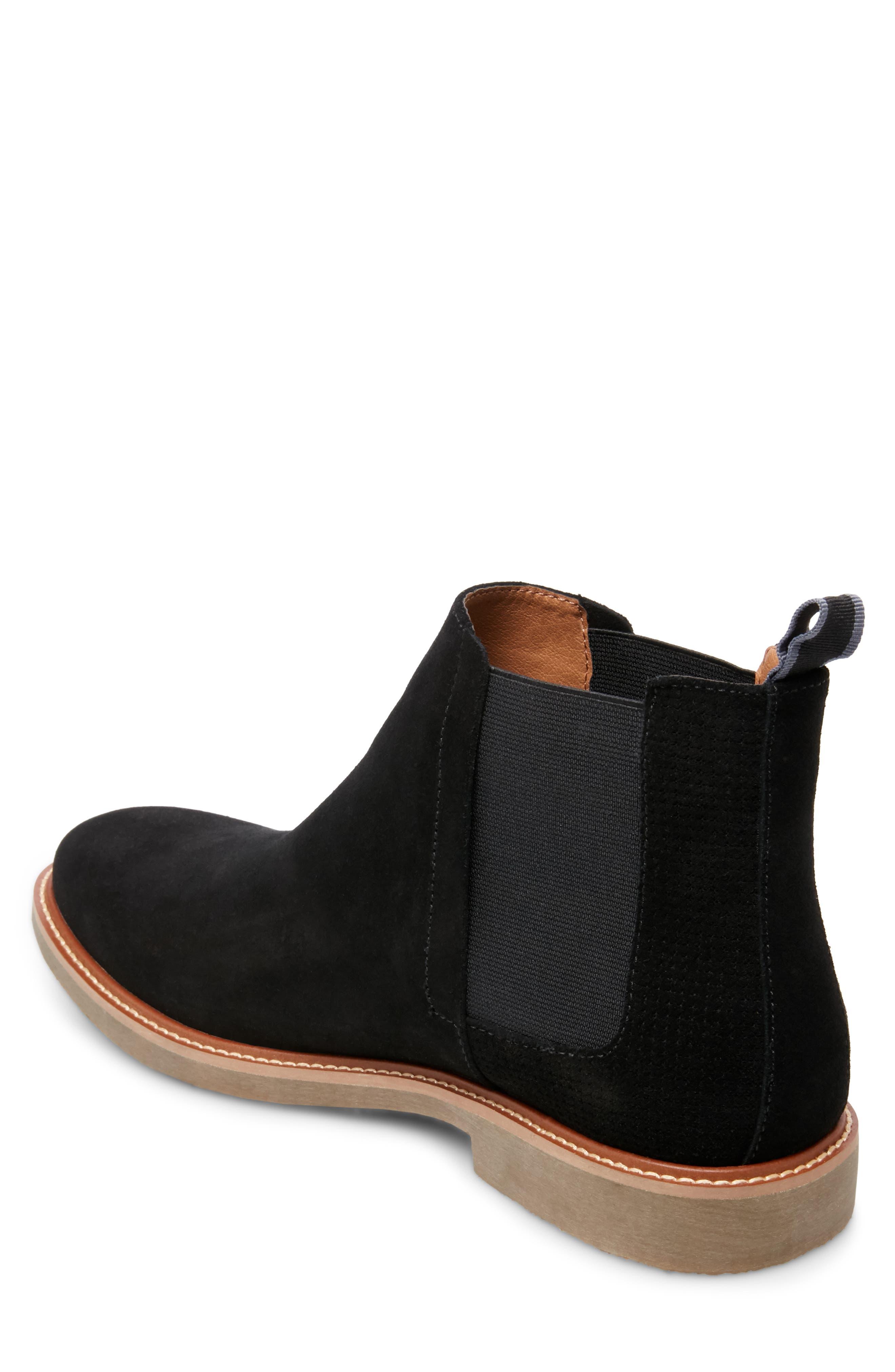 STEVE MADDEN, Highlyte Textured Chelsea Boot, Alternate thumbnail 2, color, BLACK SUEDE