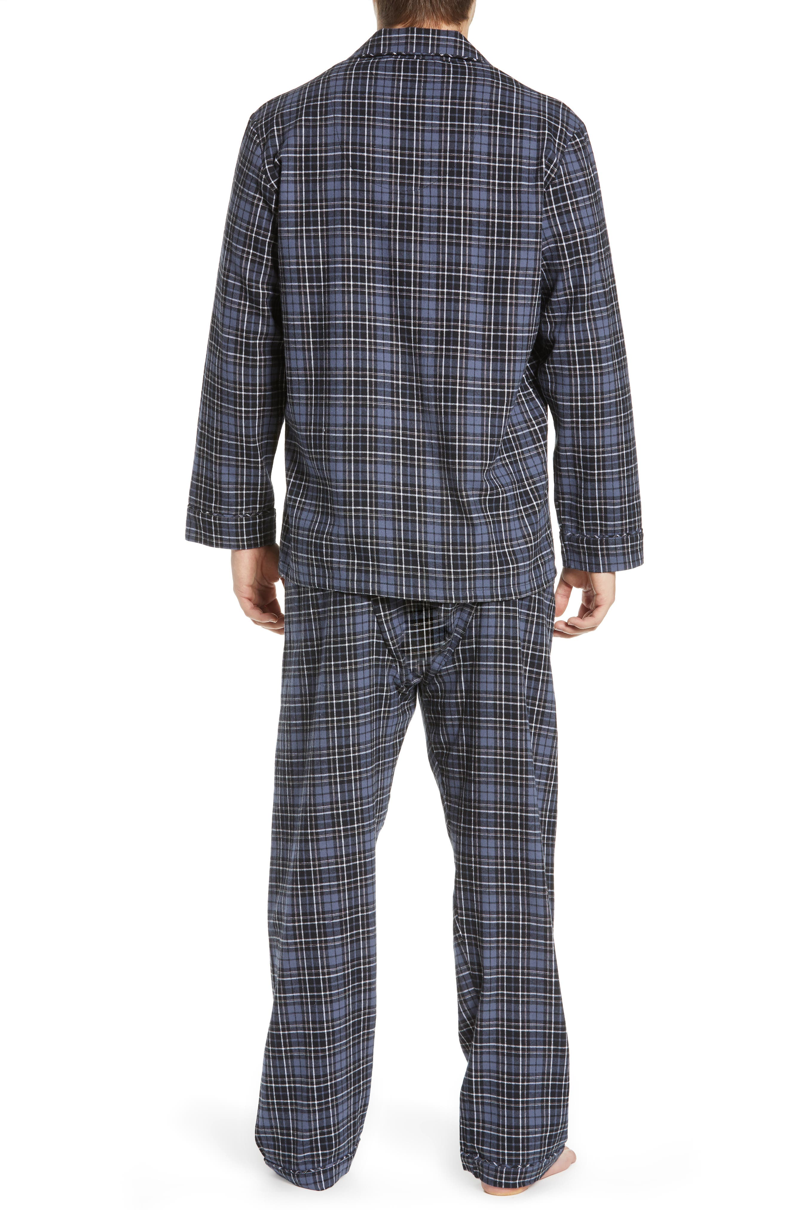 MAJESTIC INTERNATIONAL, True Match Flannel Pajamas, Alternate thumbnail 2, color, 001