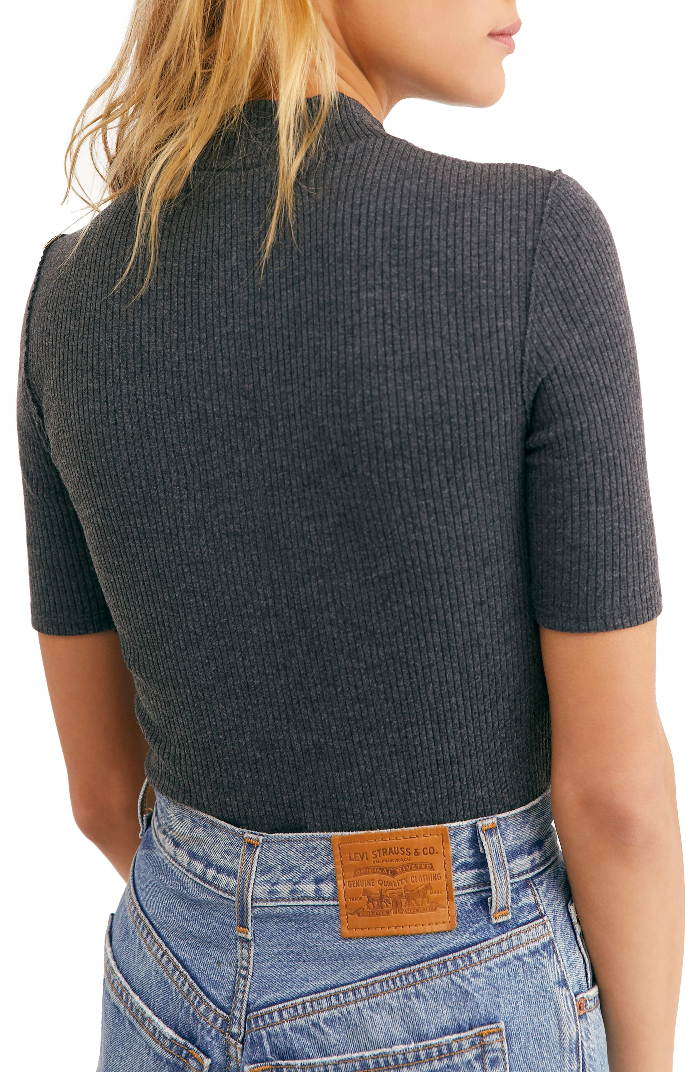 FREE PEOPLE, Good Vibes Ribbed Top, Alternate thumbnail 2, color, 020