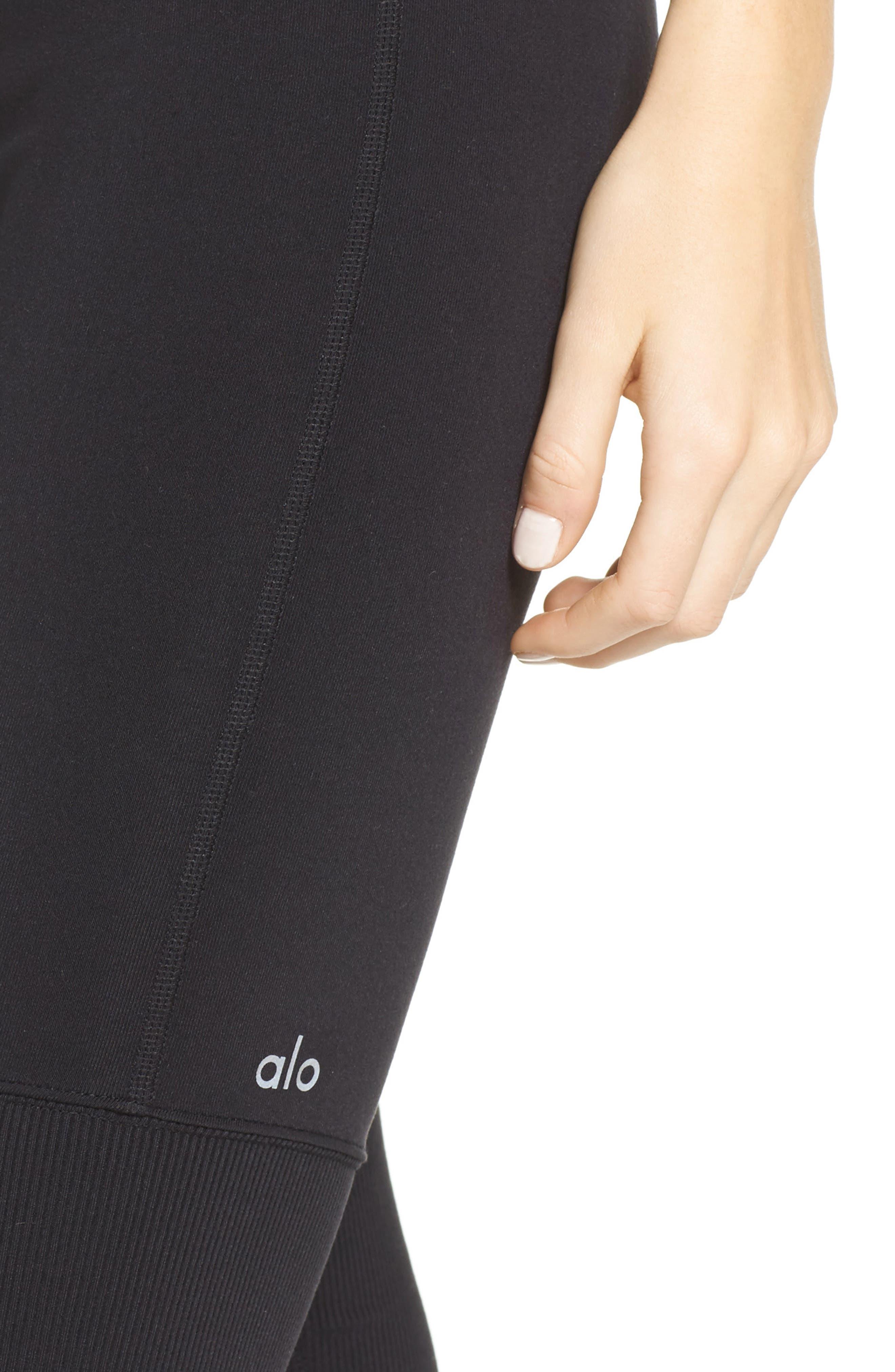 ALO, Goddess High Waist Leggings, Alternate thumbnail 5, color, BLACK/ BLACK