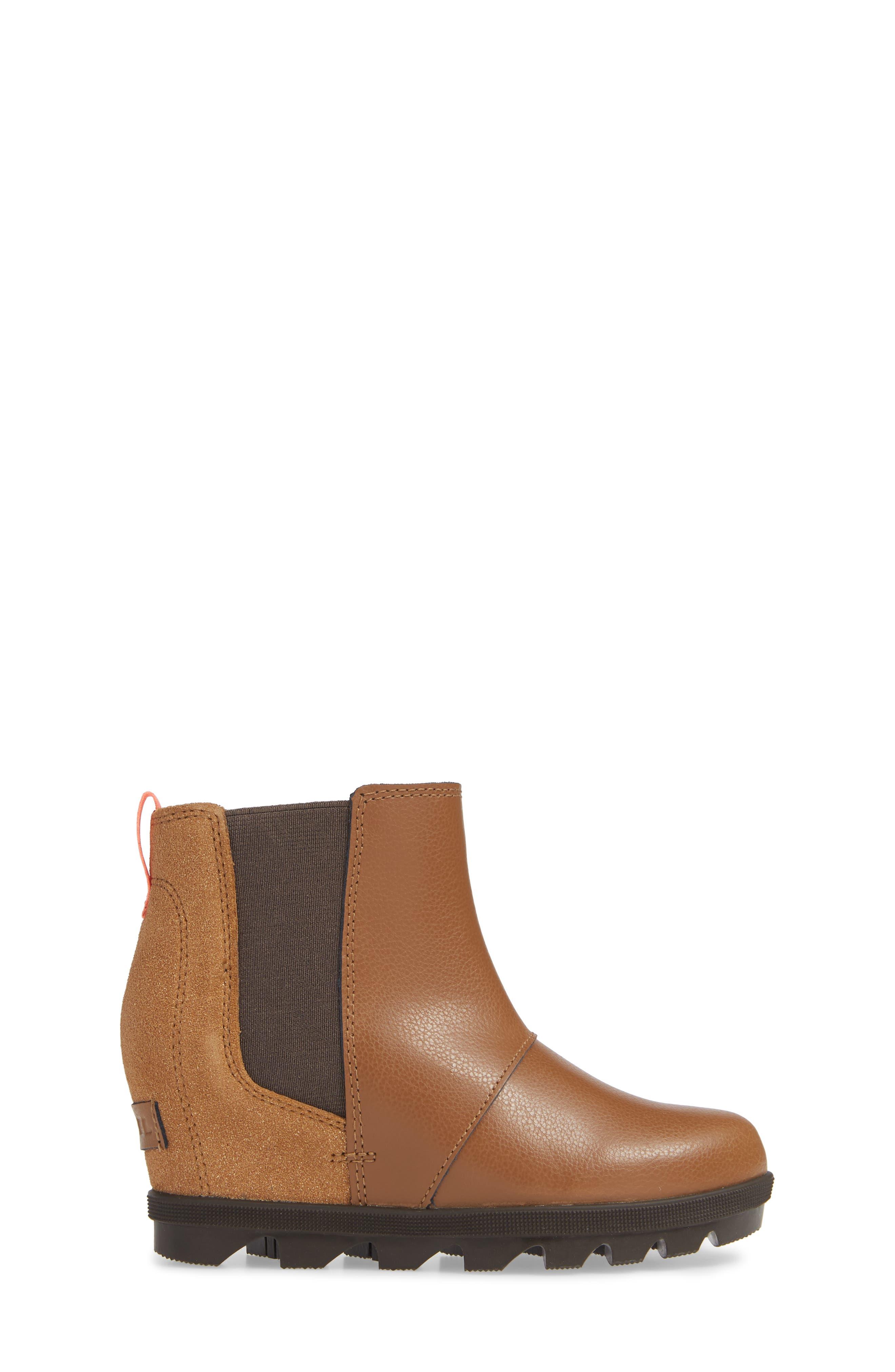 SOREL, Joan of Arc II Waterproof Wedge Chelsea Boot, Alternate thumbnail 3, color, CAMEL BROWN