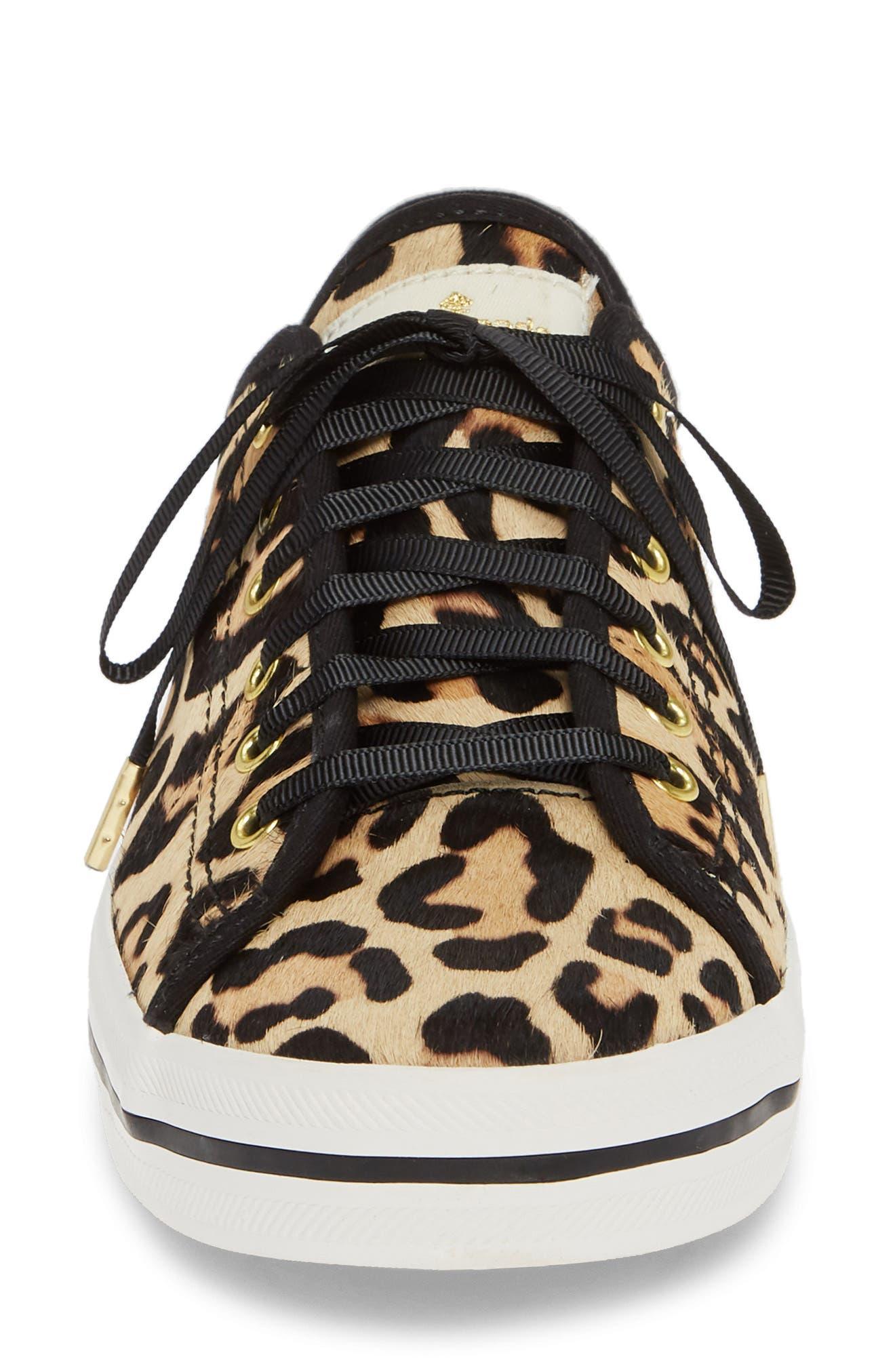 KEDS<SUP>®</SUP> FOR KATE SPADE NEW YORK, kickstart genuine calf hair sneaker, Alternate thumbnail 4, color, TAN LEOPARD CALF HAIR