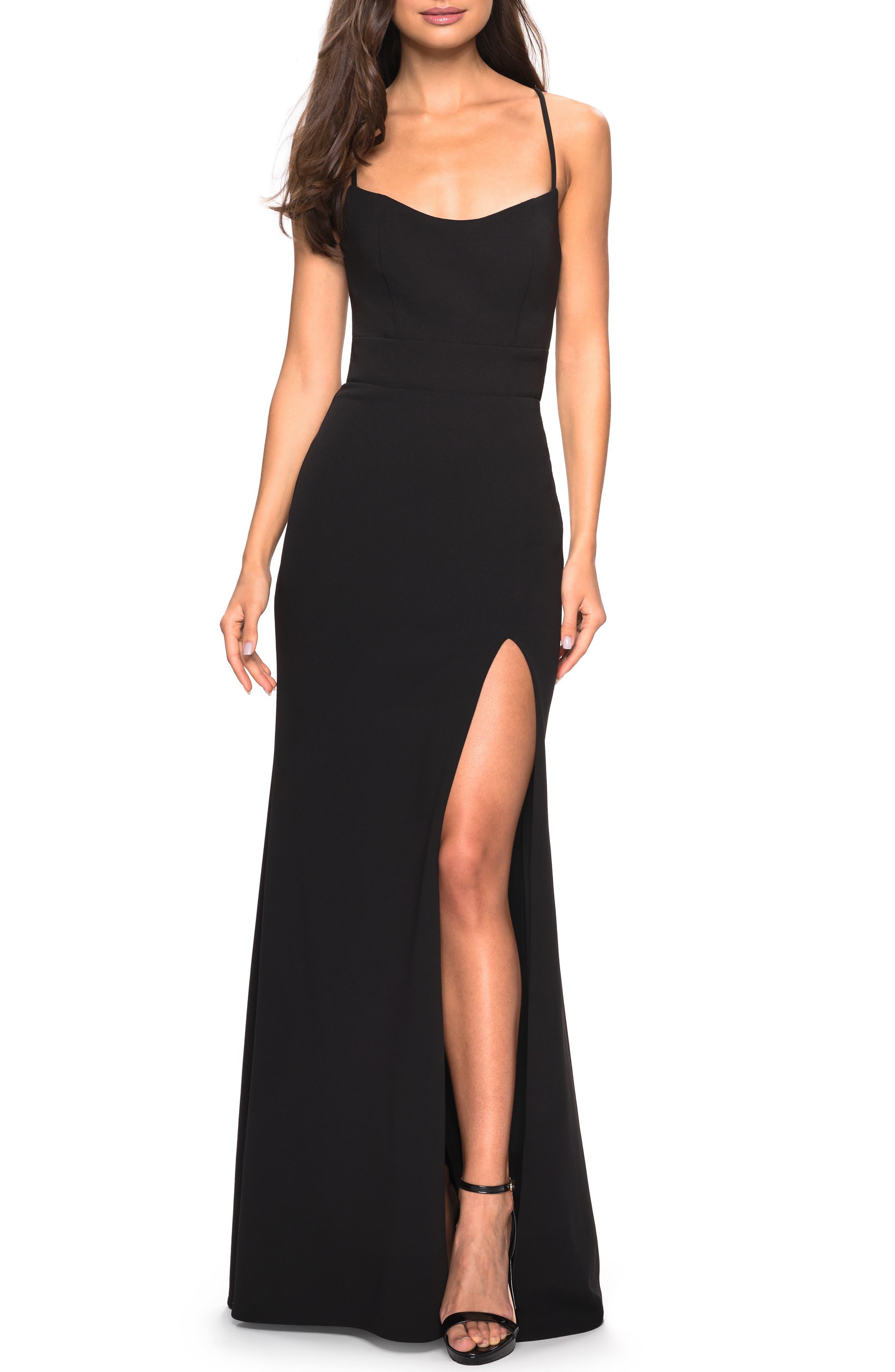 La Femme Sweetheart Neck Jersey Evening Dress, Black