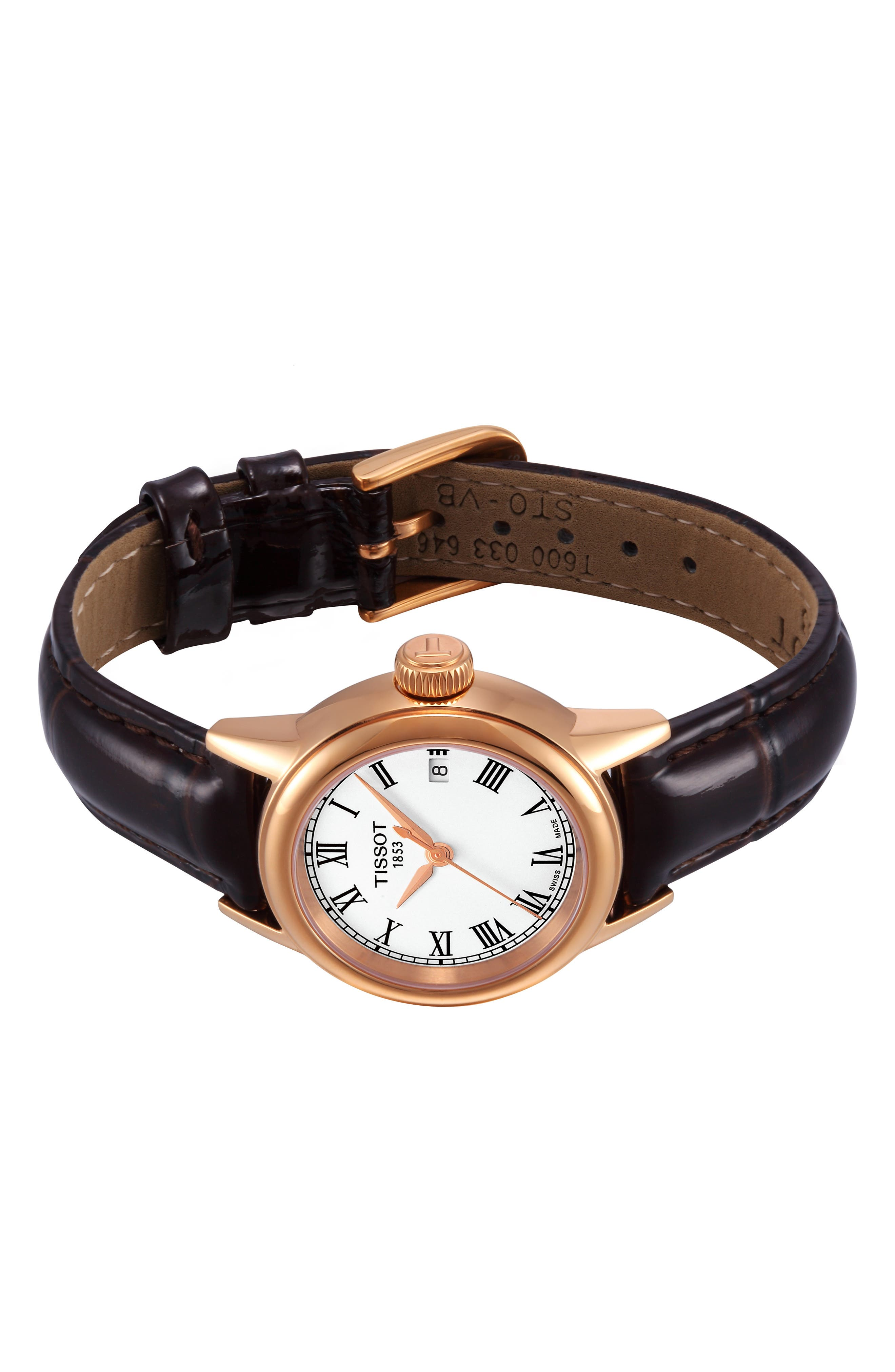 TISSOT, Carson Leather Strap Watch, 28mm, Alternate thumbnail 5, color, 201