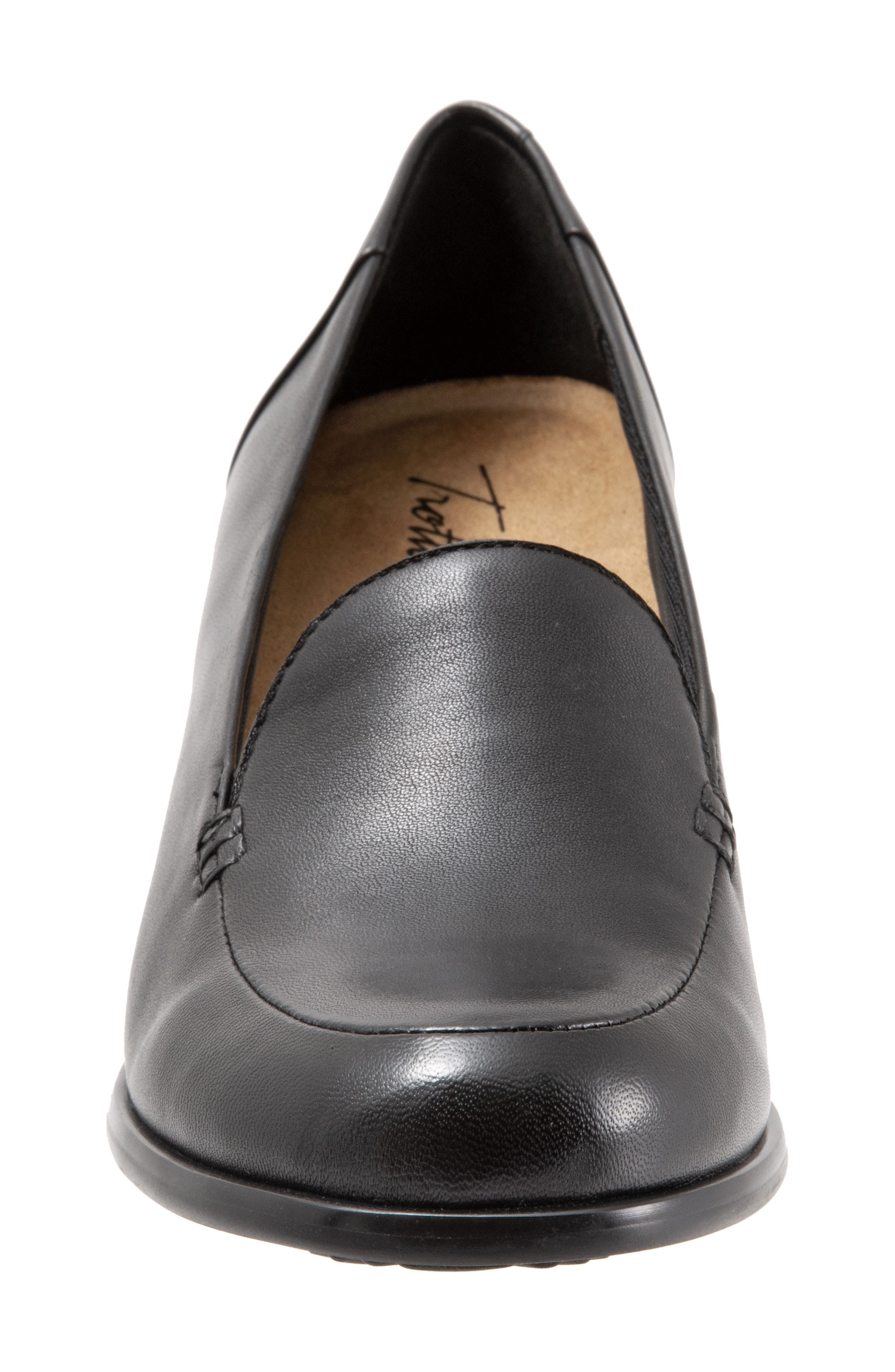 TROTTERS, Quincy Loafer Pump, Alternate thumbnail 4, color, BLACK LEATHER
