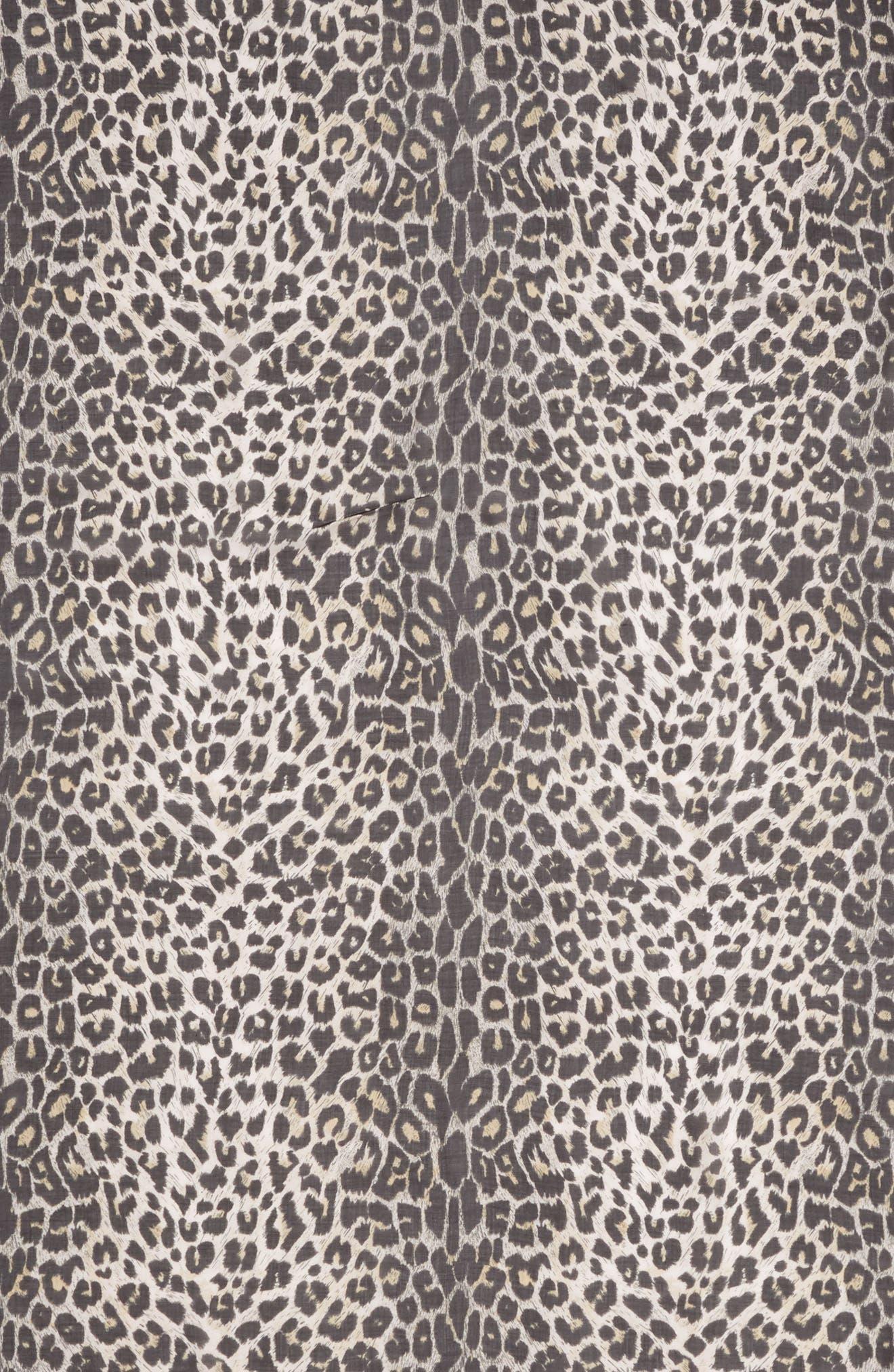 ALLSAINTS, Leopard Print Square Scarf, Alternate thumbnail 4, color, BLACK
