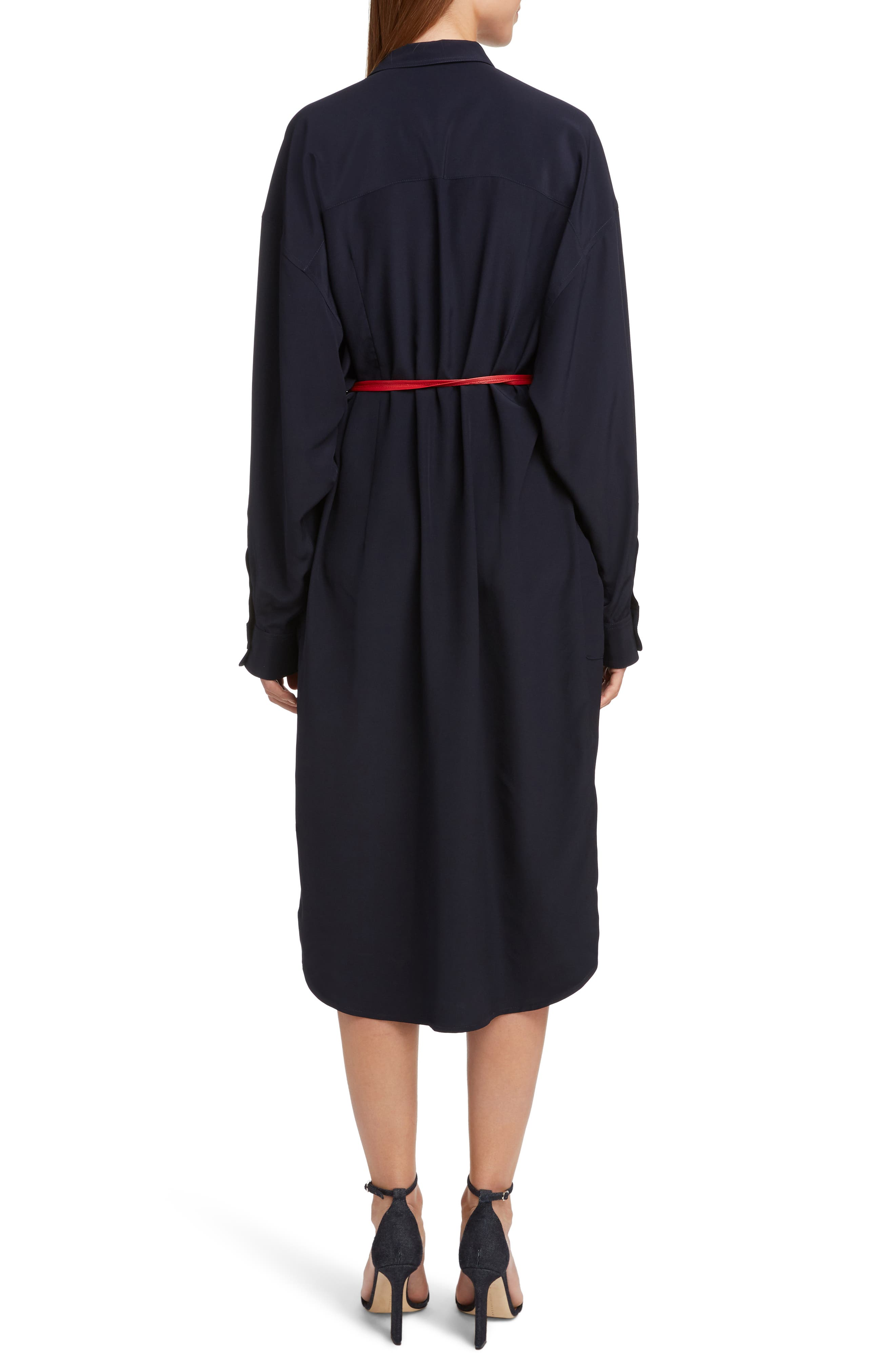 VICTORIA BECKHAM, Belted Silk Shirtdress, Alternate thumbnail 2, color, NAVY/ RED