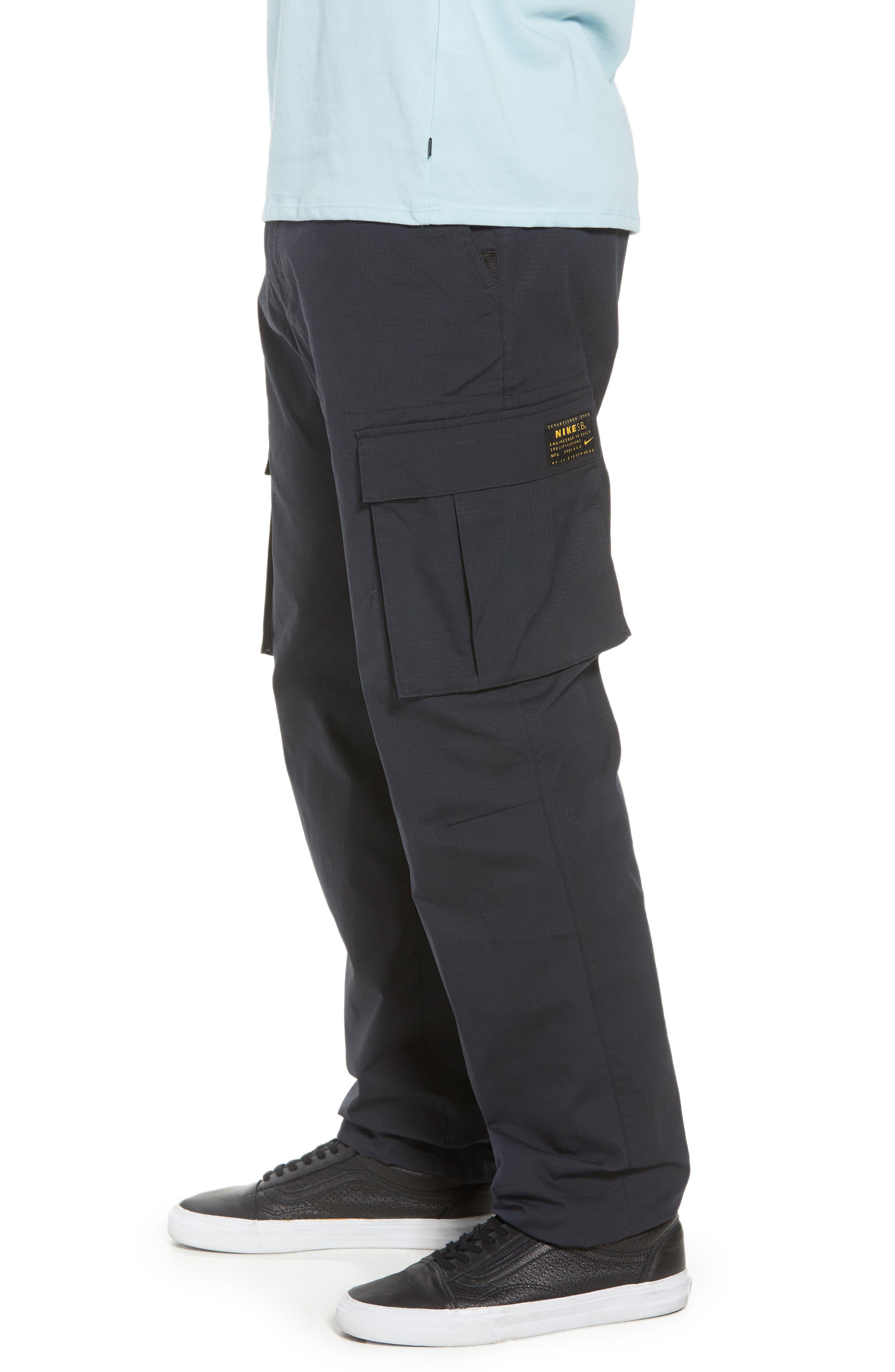 NIKE SB, Flex Cargo Pants, Alternate thumbnail 4, color, BLACK