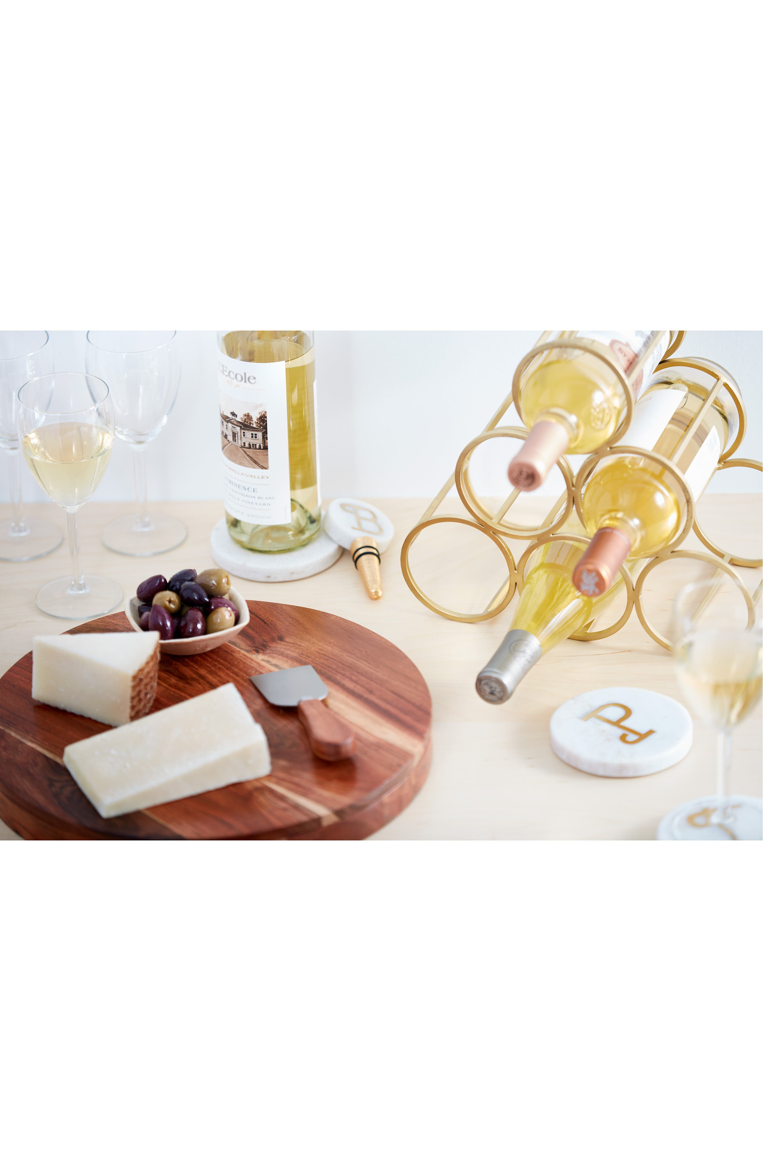 NORDSTROM AT HOME, Marble Monogram Coaster, Alternate thumbnail 5, color, WHITE/ GOLD A