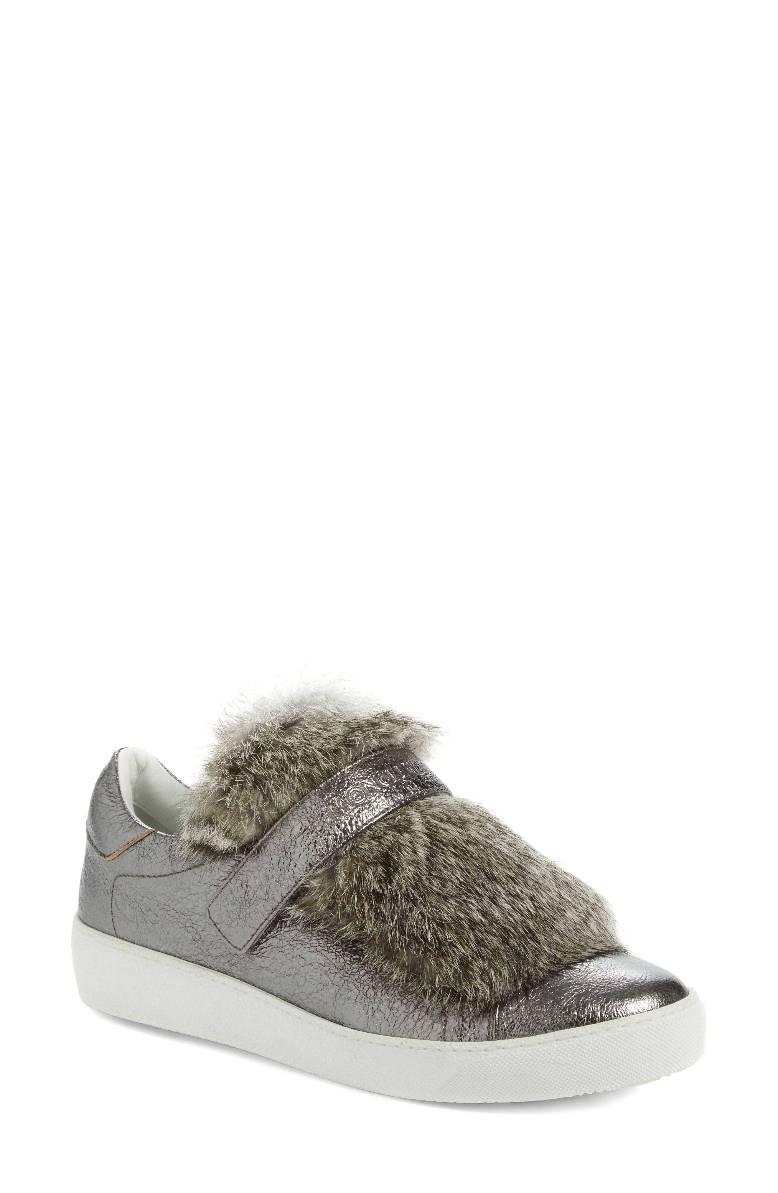 MONCLER, 'Lucie Scarpa' Genuine Rabbit Fur Trim Sneaker, Alternate thumbnail 5, color, 020
