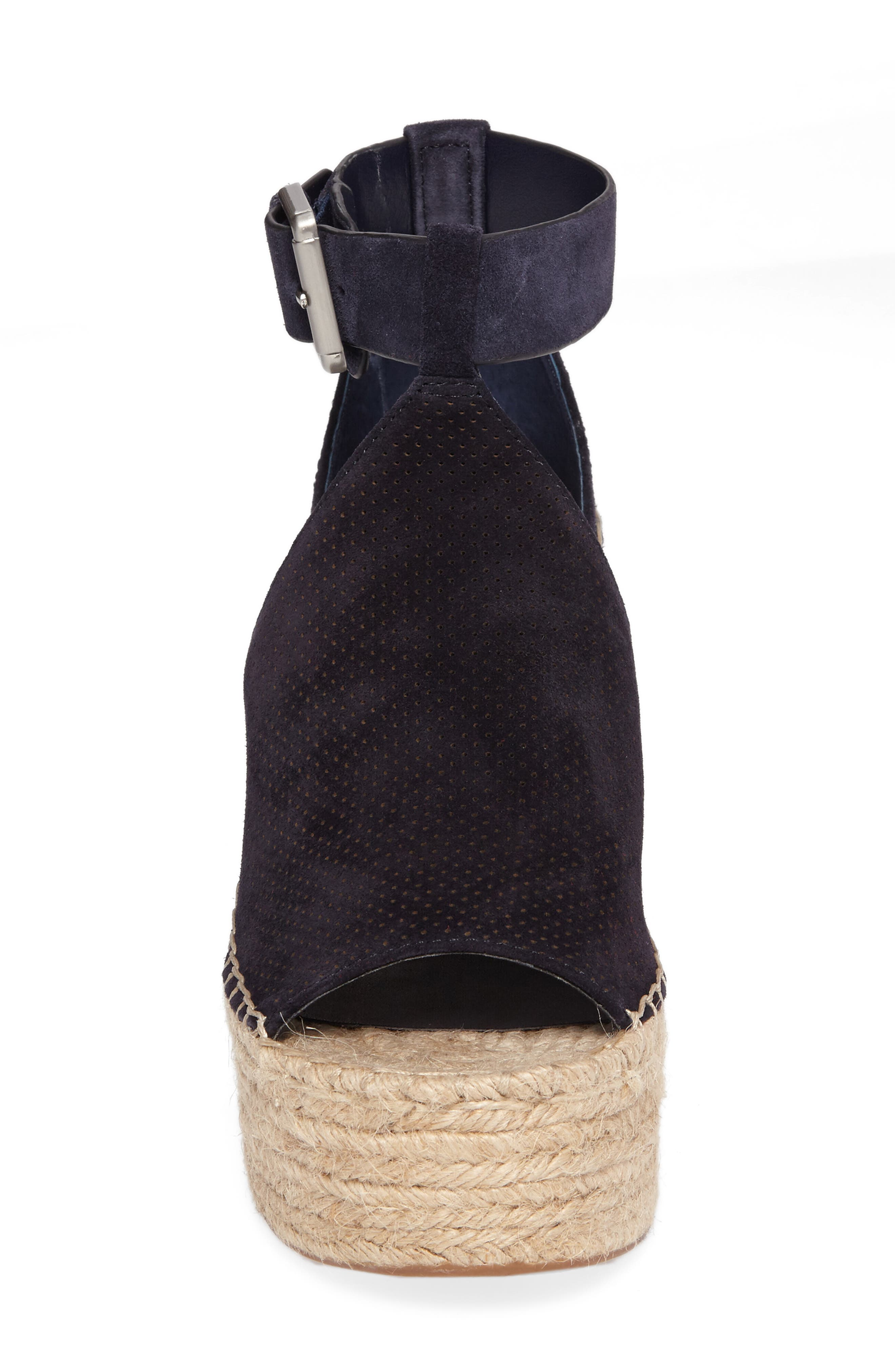 MARC FISHER LTD, Annie Perforated Espadrille Platform Wedge, Alternate thumbnail 4, color, 435