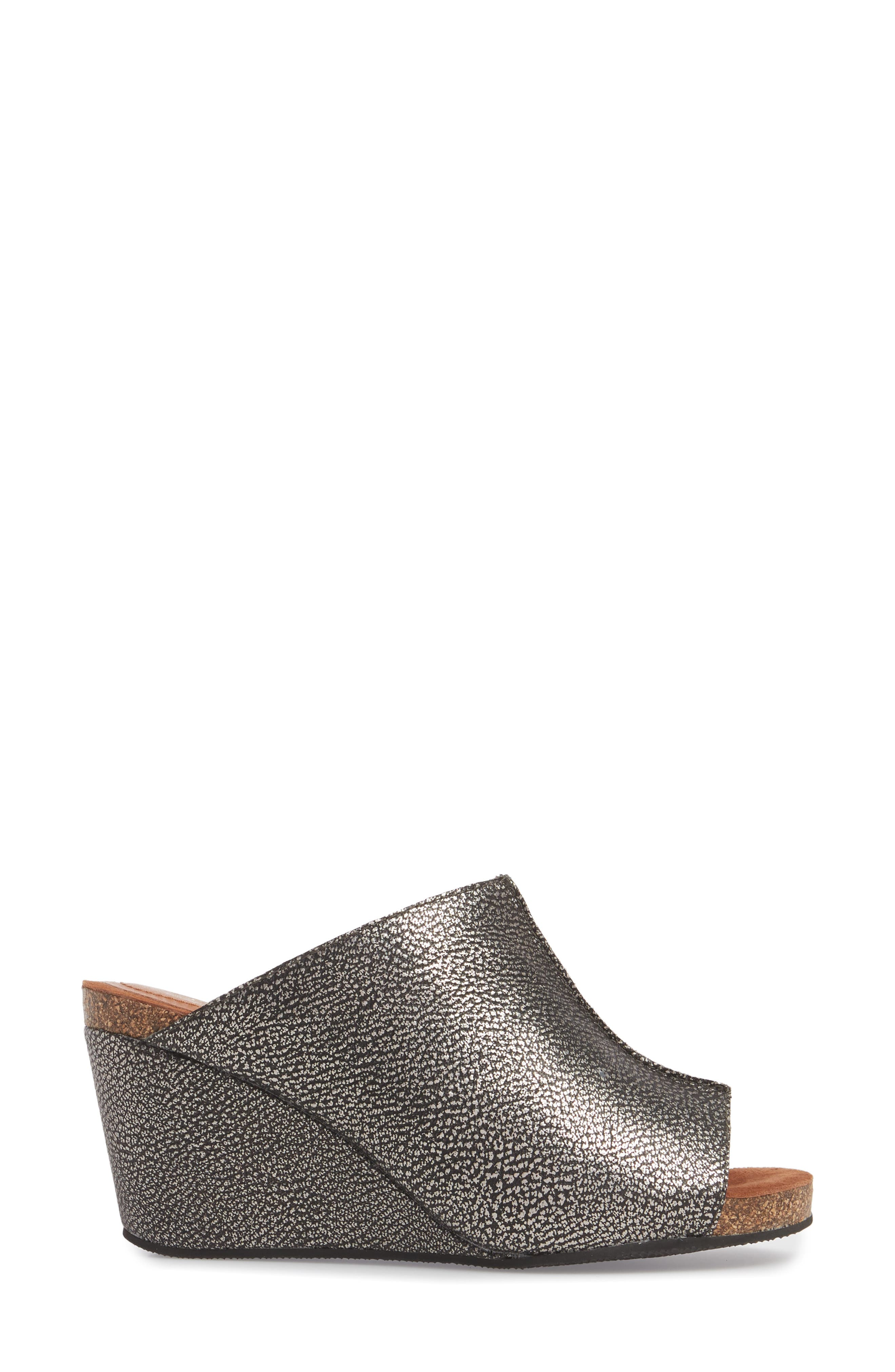 SUDINI, 'Bailey' Suede Wedge, Alternate thumbnail 3, color, PEWTER LEATHER