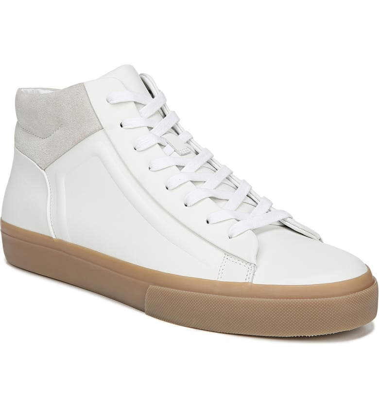 Vince Men's Fynn Glove Leather & Suede Mid-top Sneakers In White