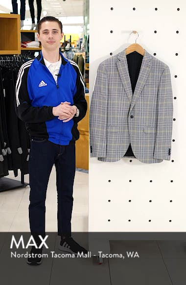 Single Breasted Check Slim Suit Jacket, sales video thumbnail