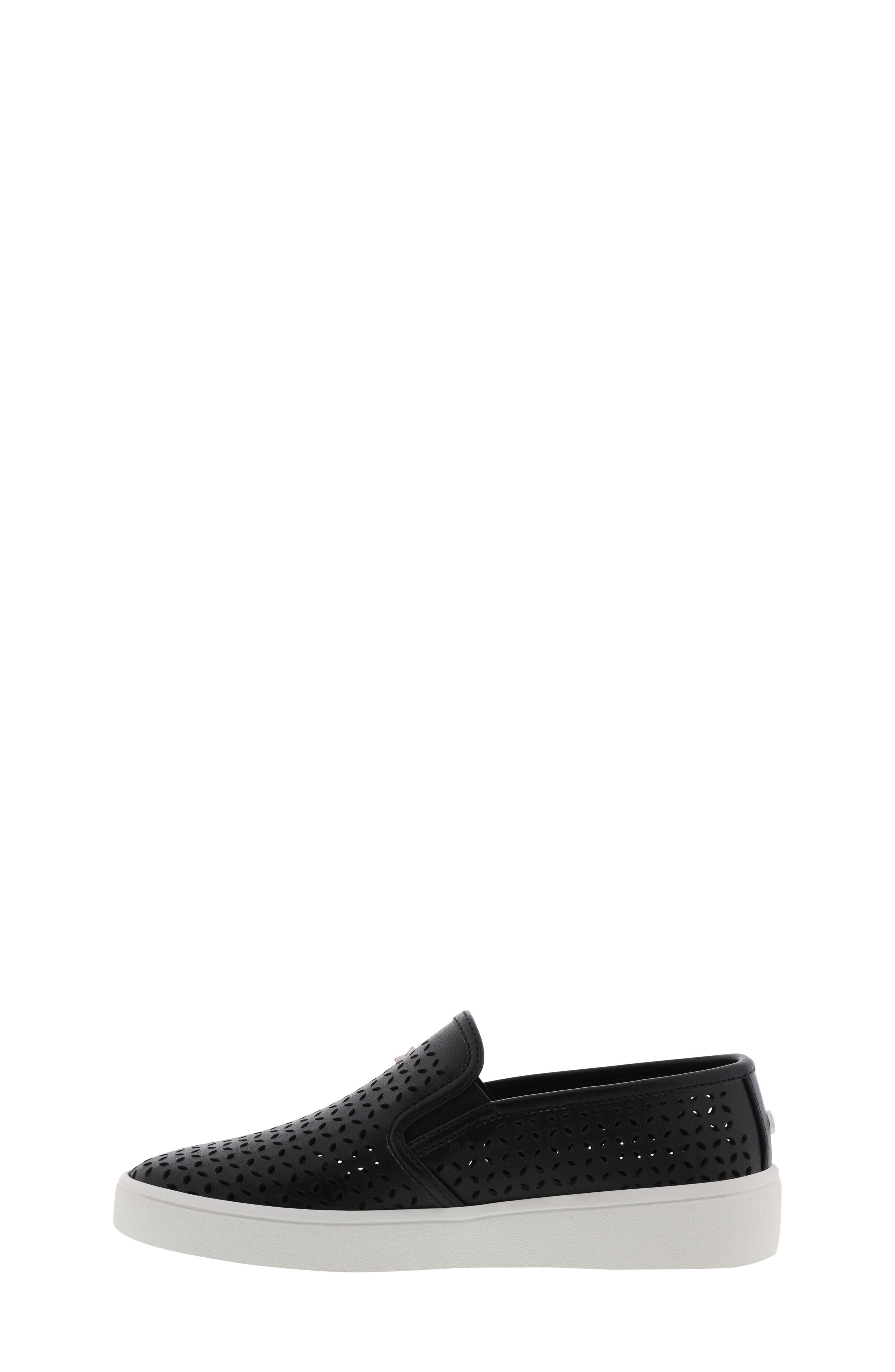 MICHAEL MICHAEL KORS, Jem Olivia Perforated Slip-On Sneaker, Alternate thumbnail 3, color, BLACK