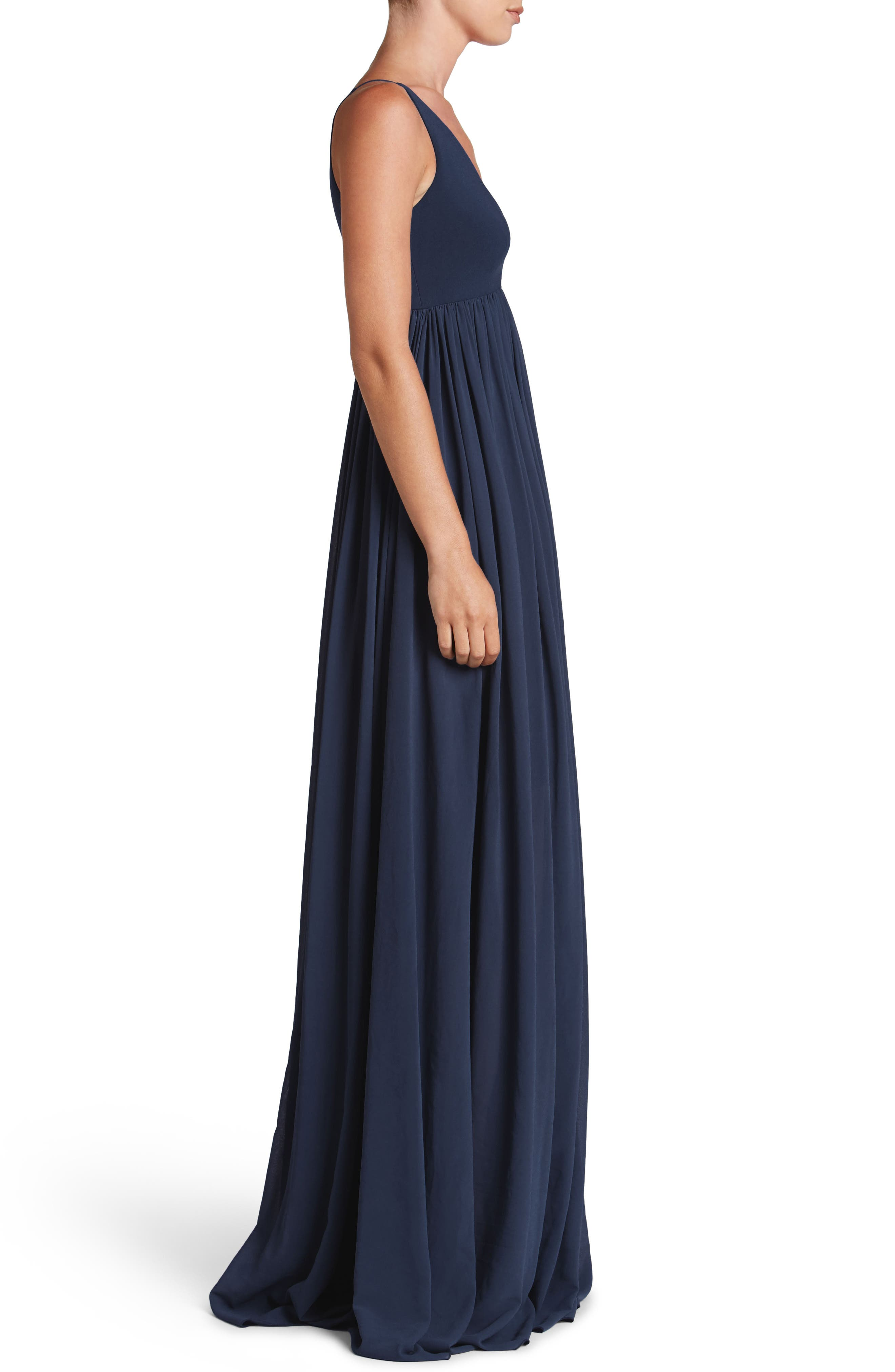 DRESS THE POPULATION, Phoebe Chiffon Gown, Alternate thumbnail 3, color, 456
